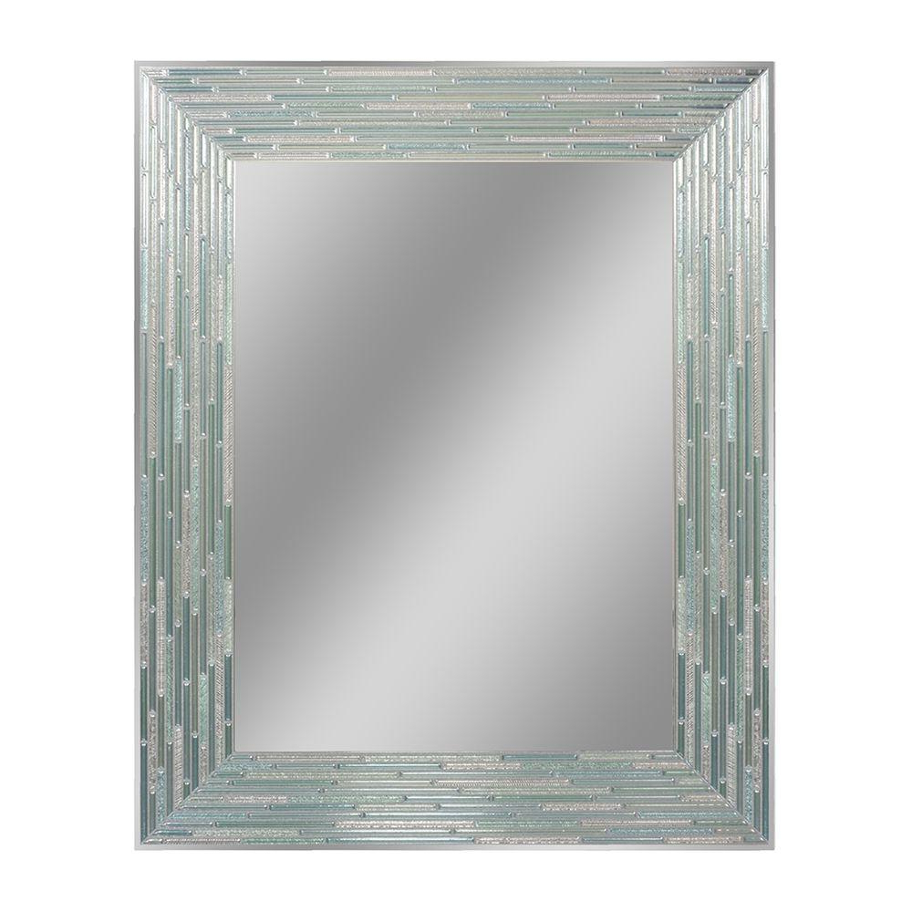 Newest Big Frameless Wall Mirrors Within Deco Mirror 30 In. L X 24 In. W Reeded Sea Glass Wall Mirror (Gallery 20 of 20)