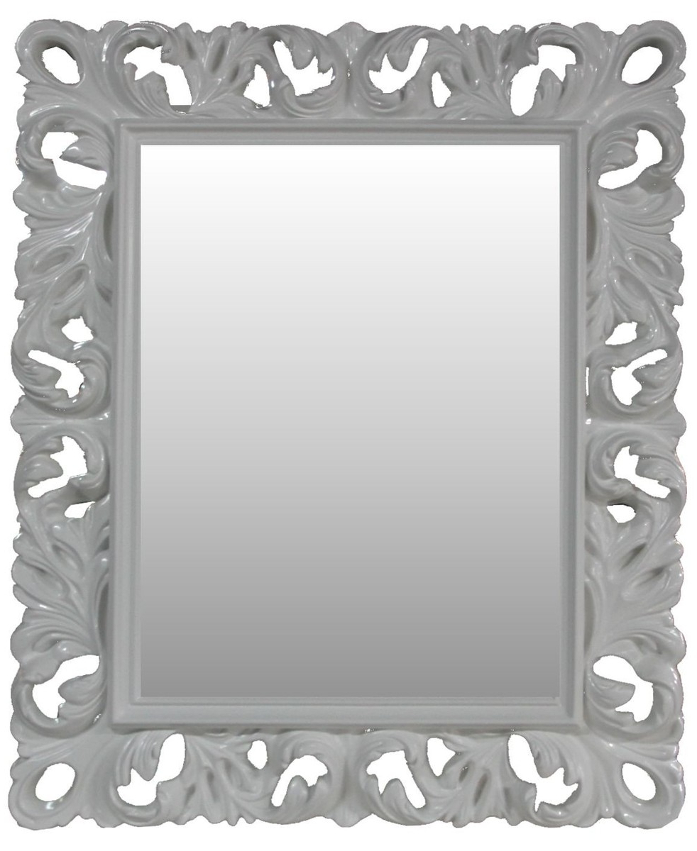 Newest Casa Padrino Baroque Wall Mirror Antique Style White 84 X 105 Cm For Antique White Wall Mirrors (Gallery 17 of 20)