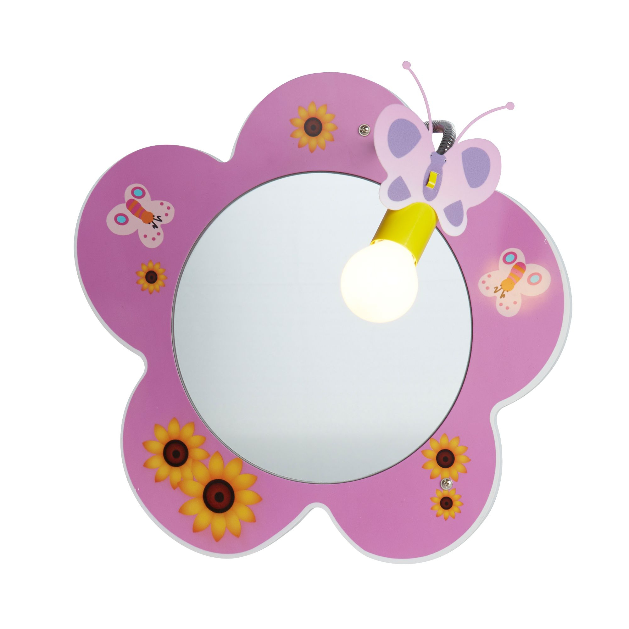 Newest Childrens Wall Mirrors Throughout Novelty Children's Flower Mirror Wall Light, Pink (View 15 of 20)