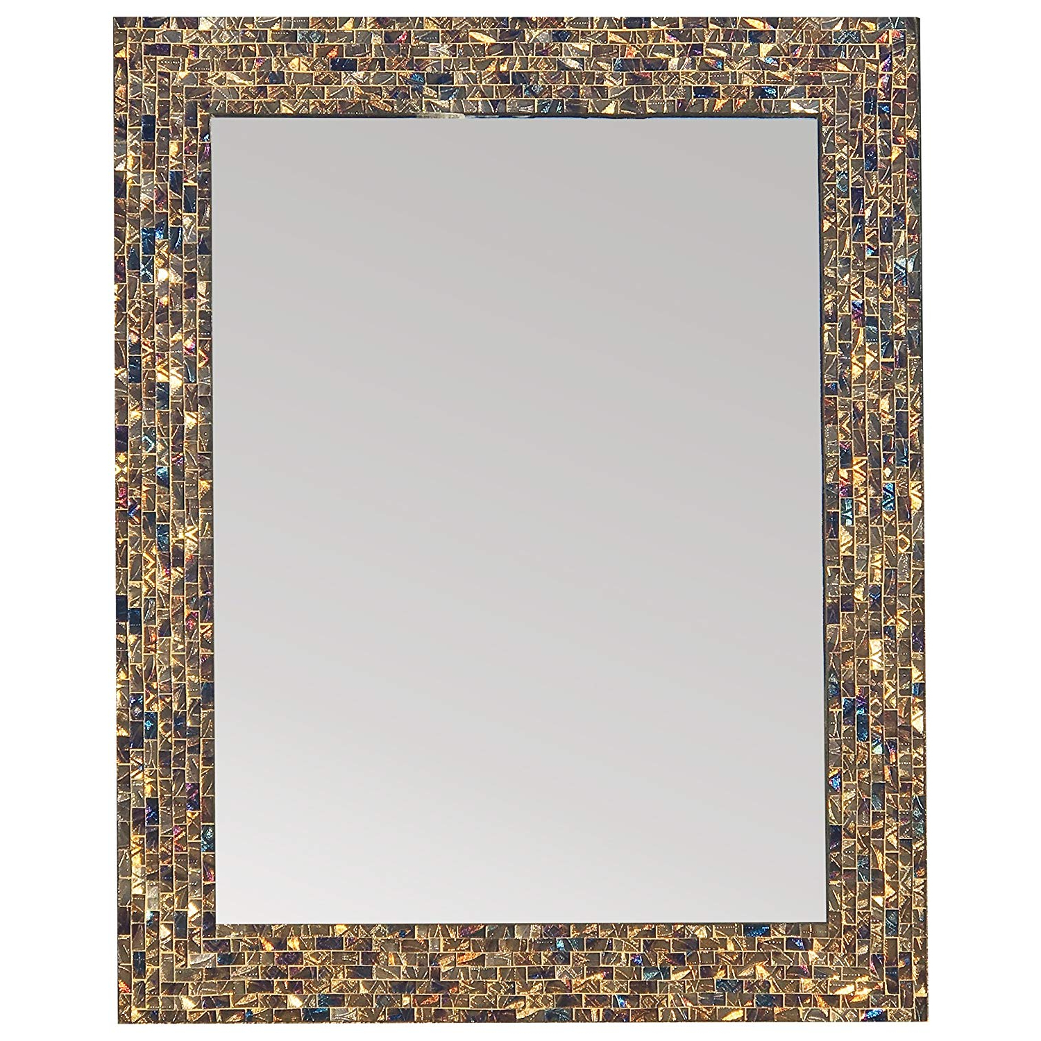 Newest Colorful Wall Mirrors Intended For Amazon: Multi Colored & Gold, Luxe Mosaic Glass Framed Wall (View 5 of 20)