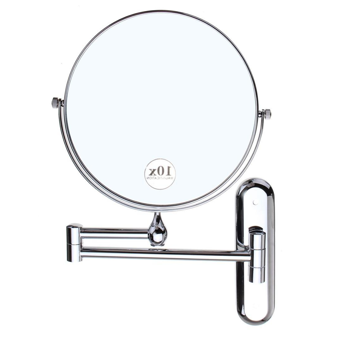 Newest Cosmetic Double Sided 10X Magnifying Mirrors Chrome Round 8 Wall Mirror  Foldable Vanity Mounted Bathroom Toilet Mirror 2017 Throughout Cosmetic Wall Mirrors (Gallery 16 of 20)