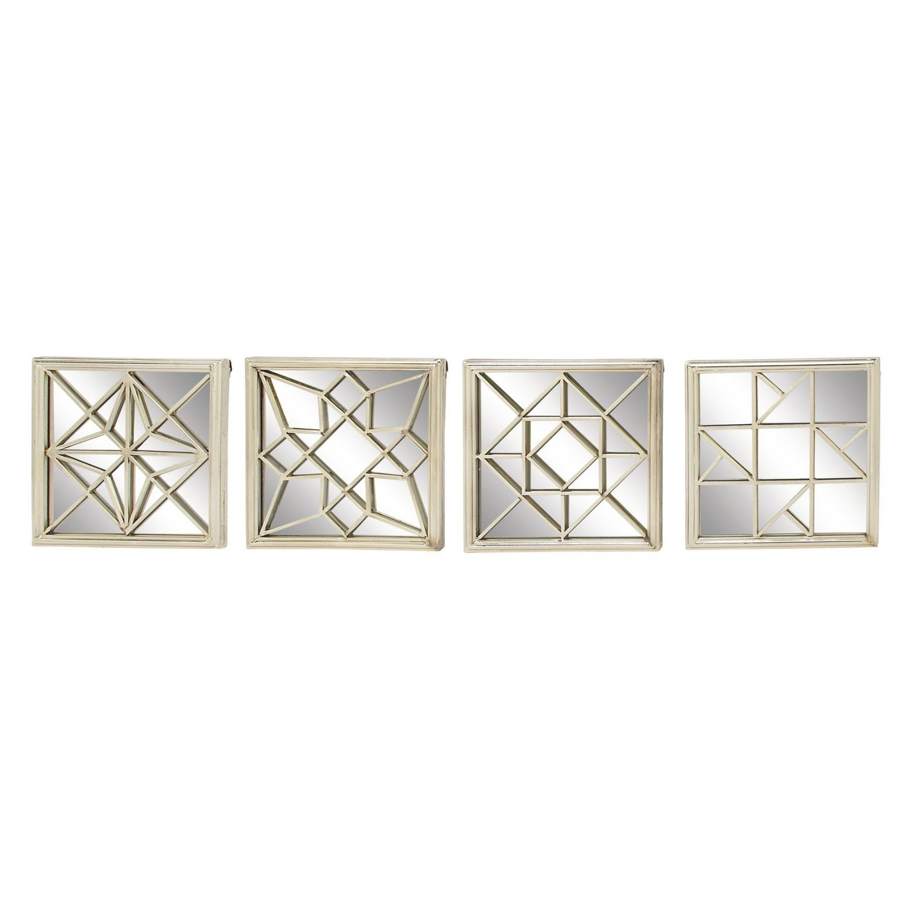 Newest Decmode Modern Reflection Geometric Wall Mirrors – Set Of 4 Within Reflection Wall Mirrors (View 12 of 20)