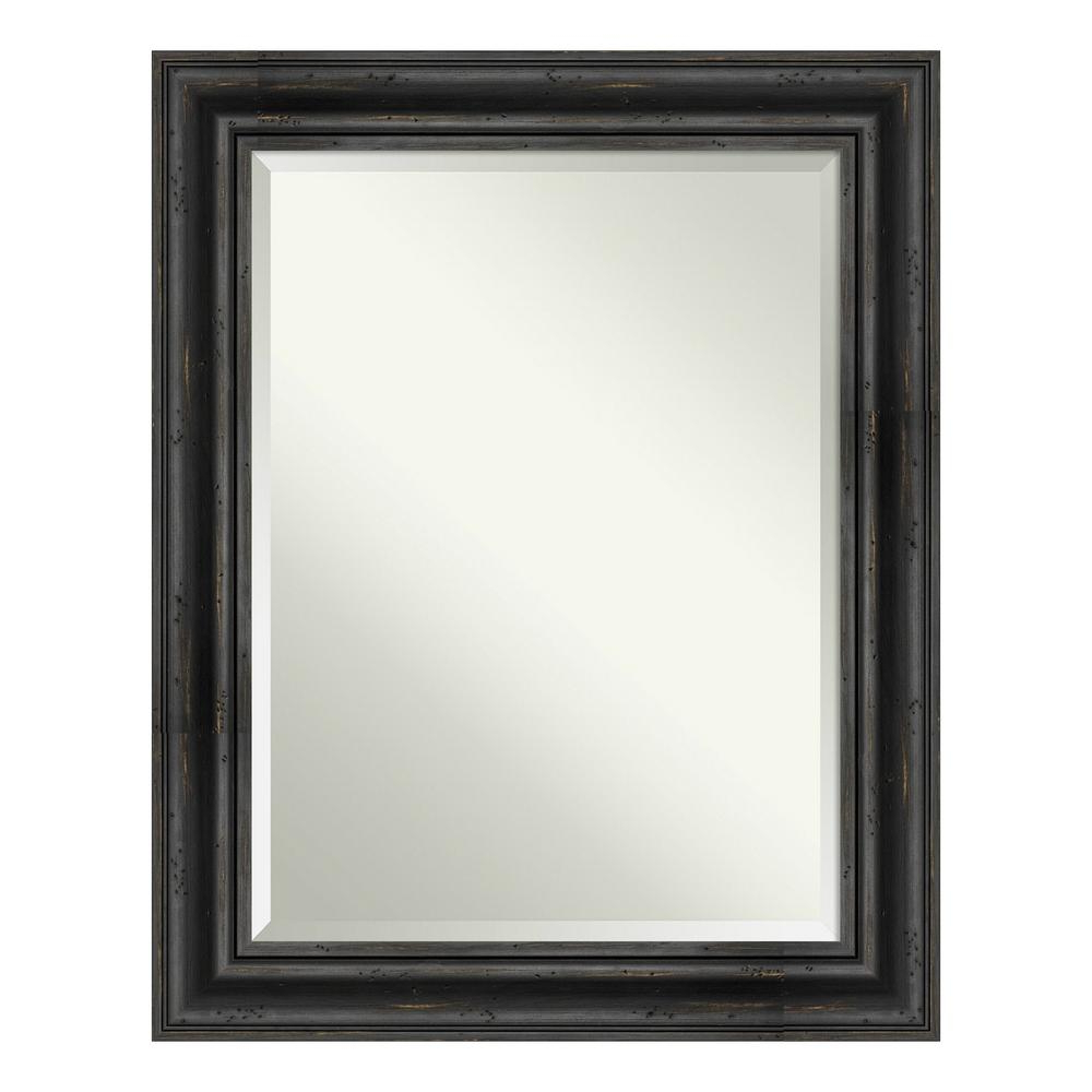 Newest Decorative Black Wall Mirrors Within Amanti Art Rustic Pine Black Decorative Wall Mirror Dsw4093486 – The (View 8 of 20)