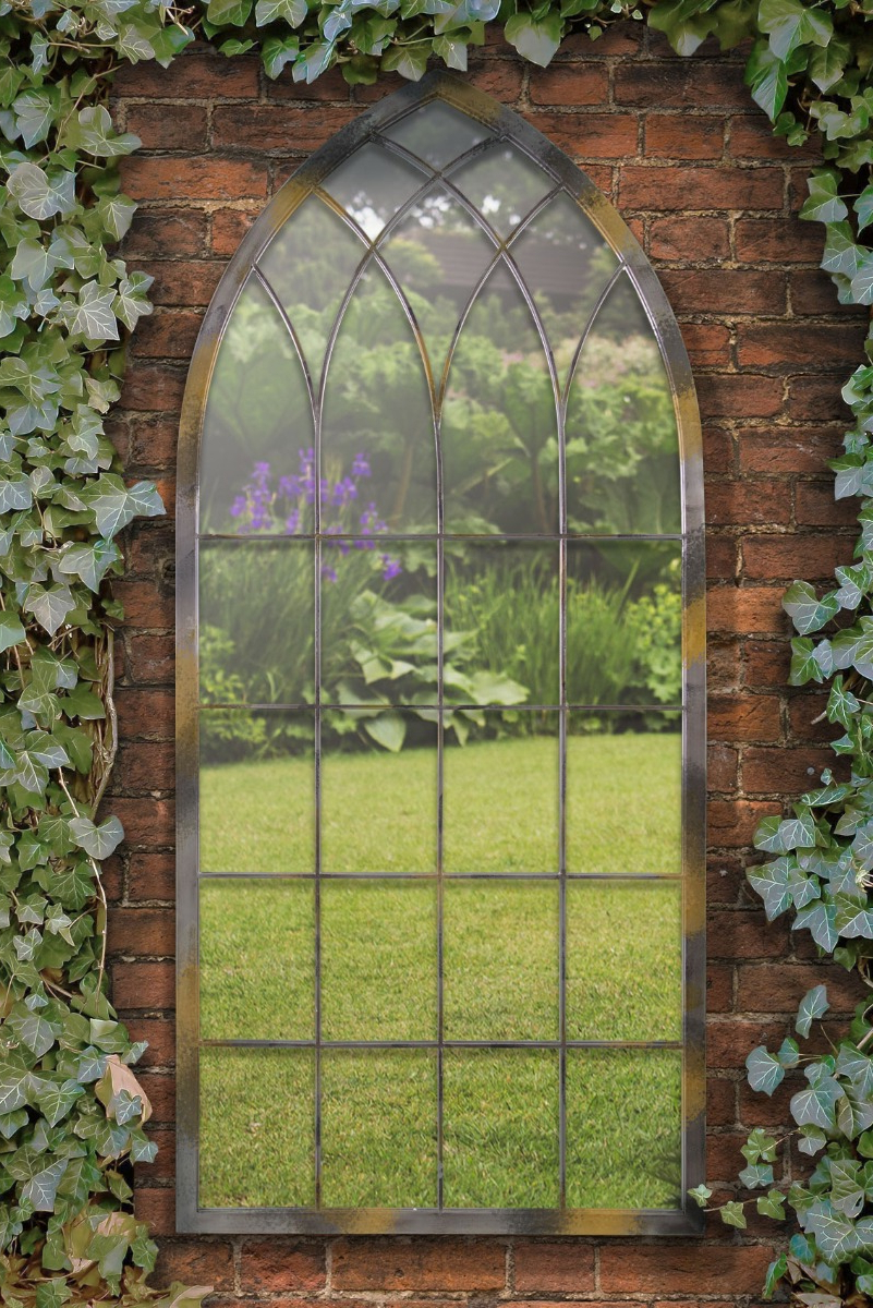 Newest Details About Home & Garden Outdoor Gothic Design Arched Wall Mirror Rustic Colour 5ft3 X 2 With Regard To Outdoor Wall Mirrors (View 7 of 20)