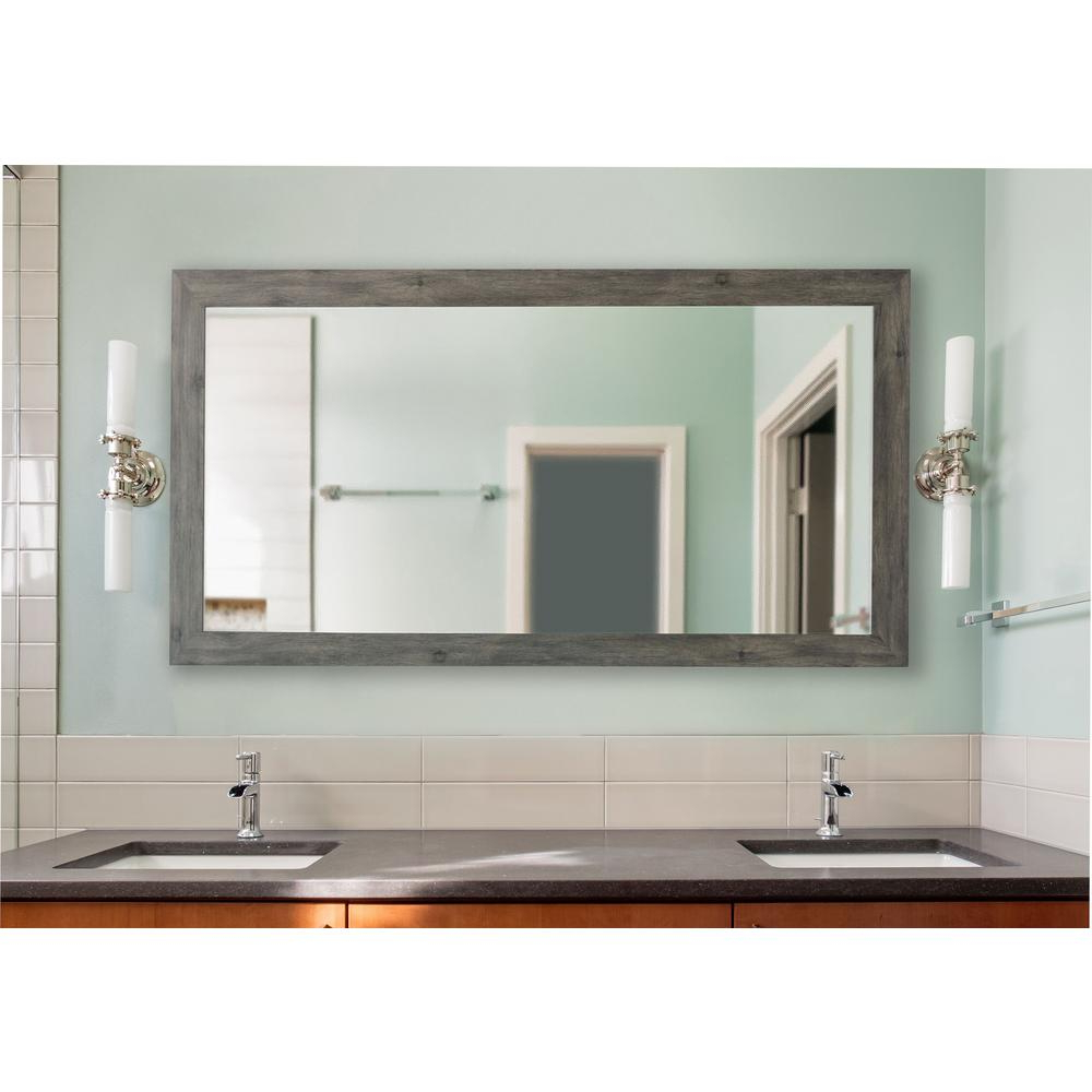 Newest Extra Large Framed Wall Mirrors Intended For 78 In. X 39 In. Gray Barnwood Extra Large Vanity Mirror (Gallery 6 of 20)