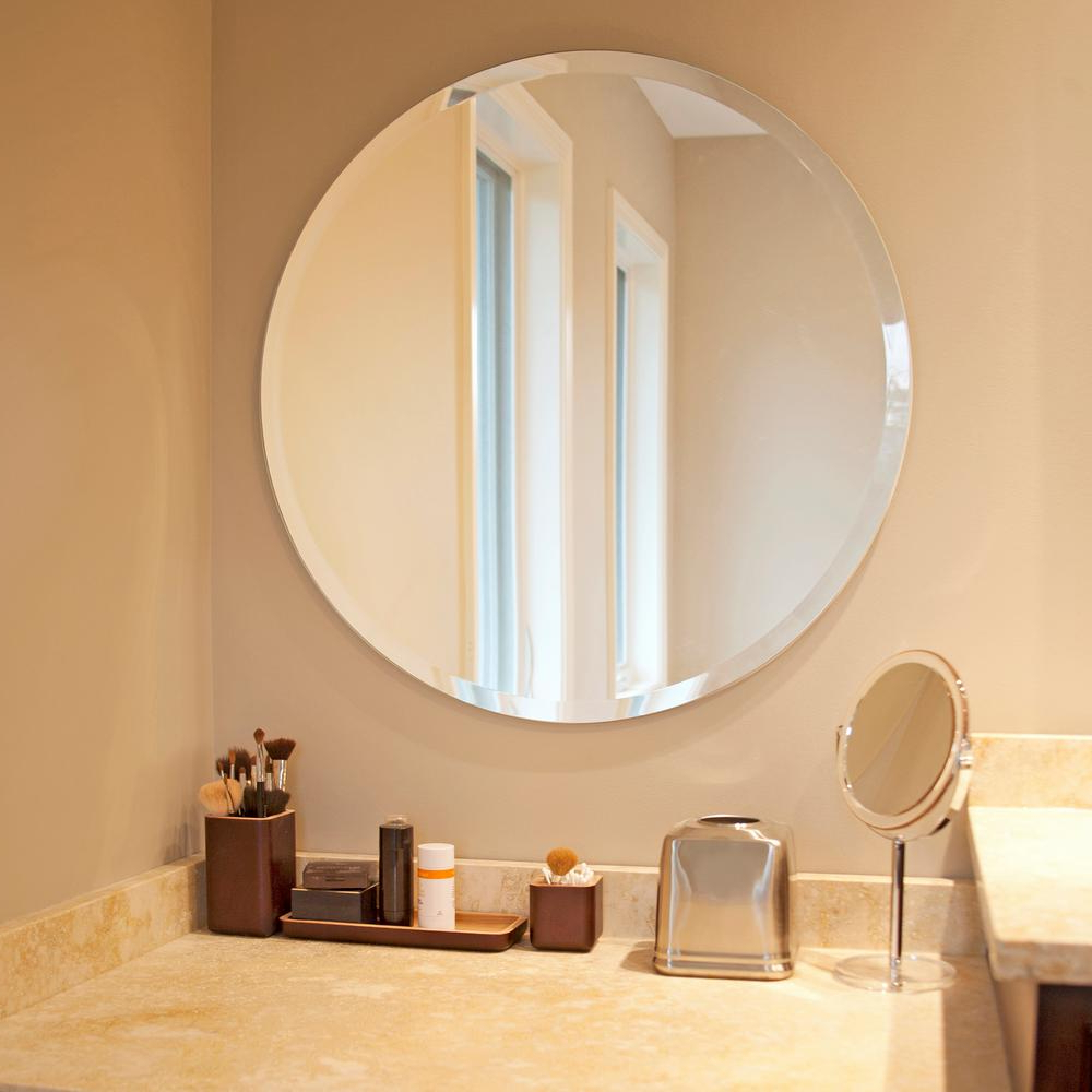 Newest Frameless Round Wall Mirrors Throughout 28 In. X 28 In (View 15 of 20)