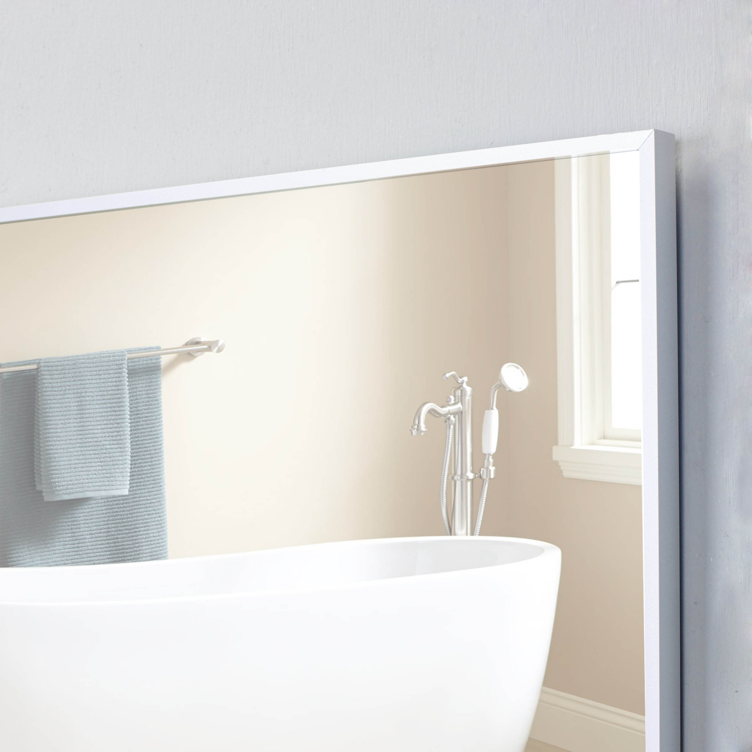 """Newest Frames For Bathroom Wall Mirrors With Regard To Eviva Sax 30"""" Brushed Metal Frame Bathroom Wall Mirror (Gallery 14 of 20)"""
