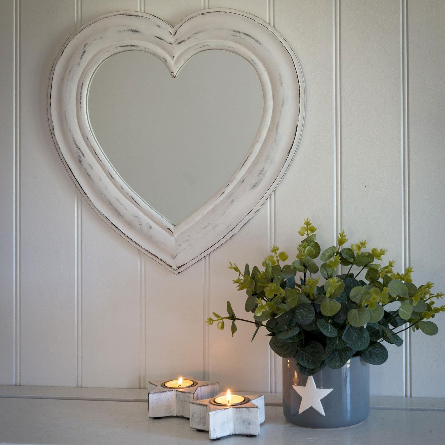 Newest Heart Shaped Wall Mirrors Intended For White Heart Shaped Mirror (View 18 of 20)