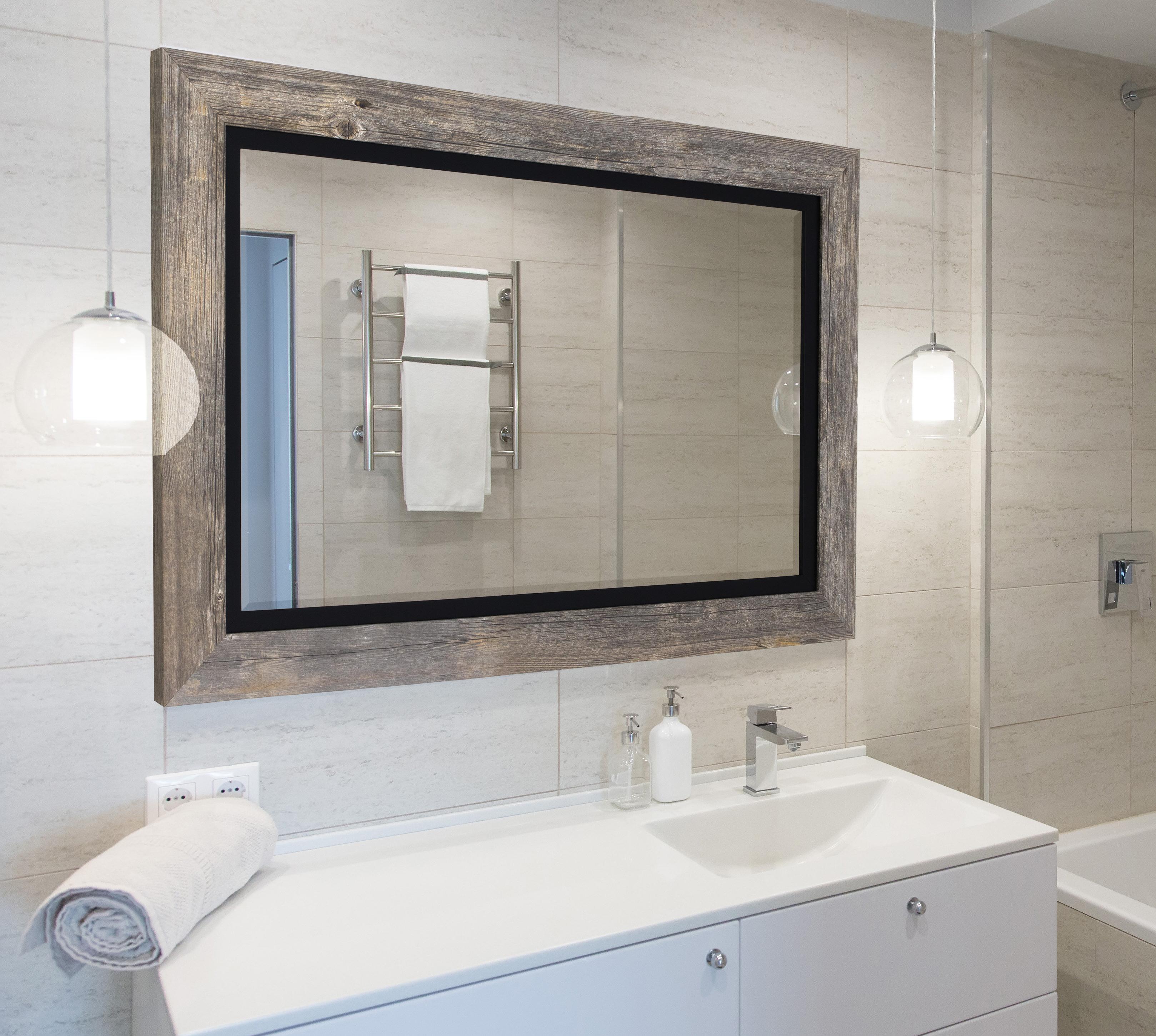 Newest Hilde Traditional Beveled Bathroom Mirror In Landover Rustic Distressed Bathroom/vanity Mirrors (View 20 of 20)