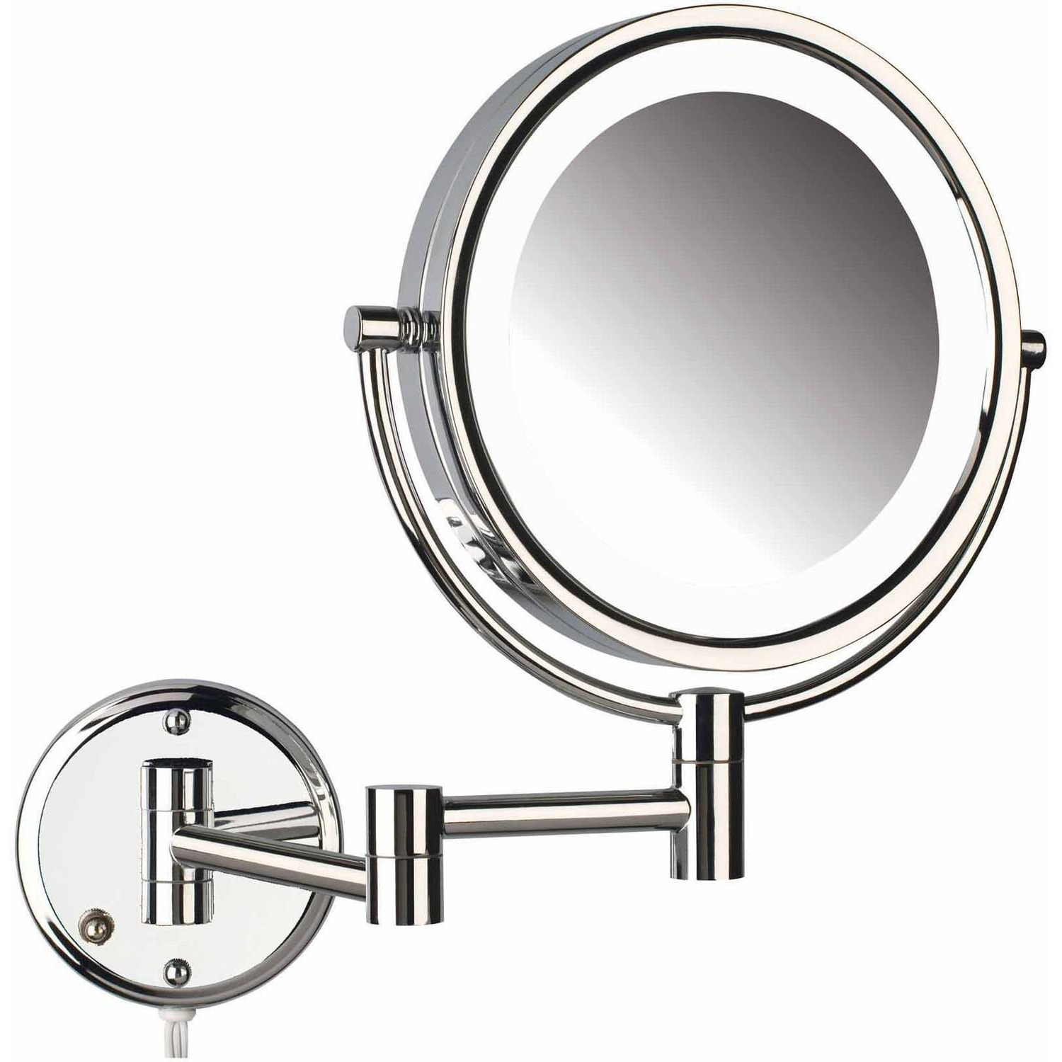 "Newest Jerdon Hl88Cl 8.5"" Led Lighted Wall Mount Makeup Mirror With 8X  Magnification, Chrome Finish For Lighted Vanity Wall Mirrors (Gallery 8 of 20)"