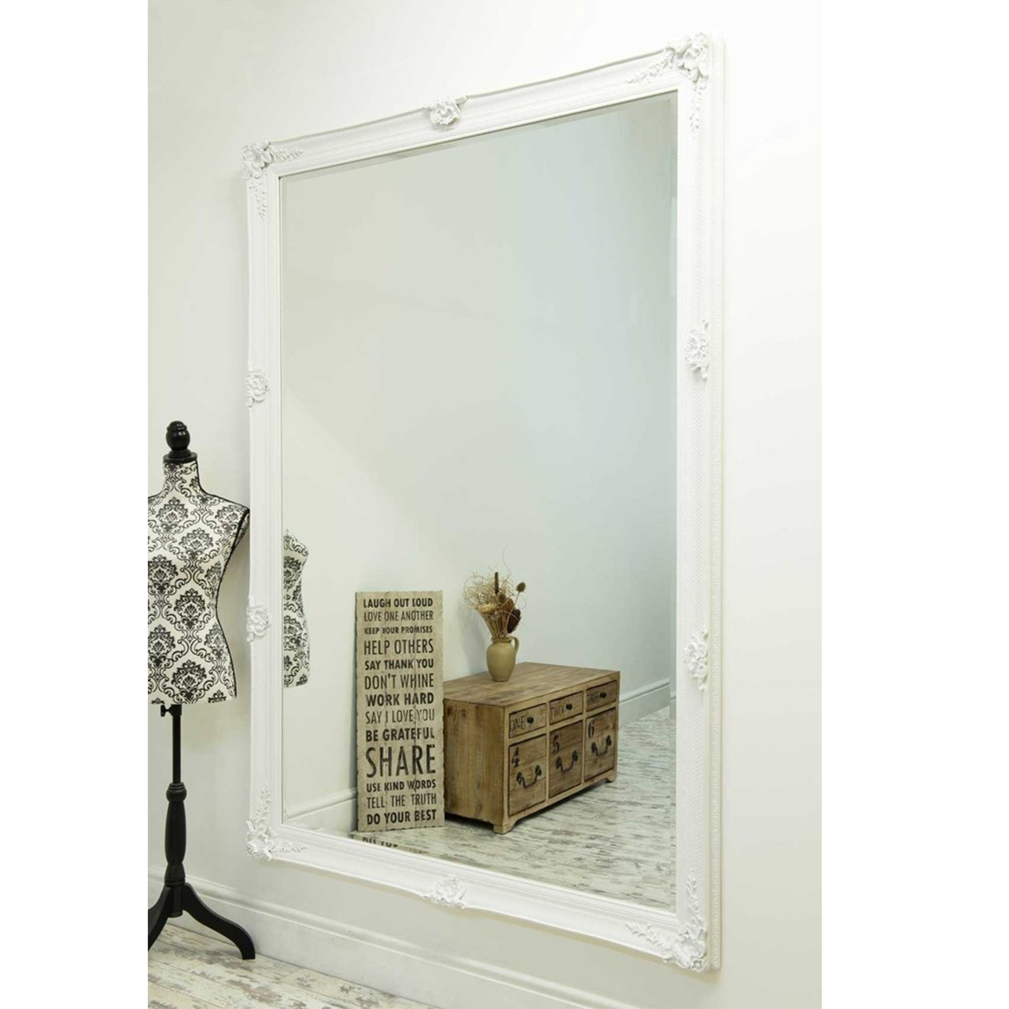 Newest Large Decorative Wall Mirrors Within Large White Antique French Style Wall Mirror (View 16 of 20)