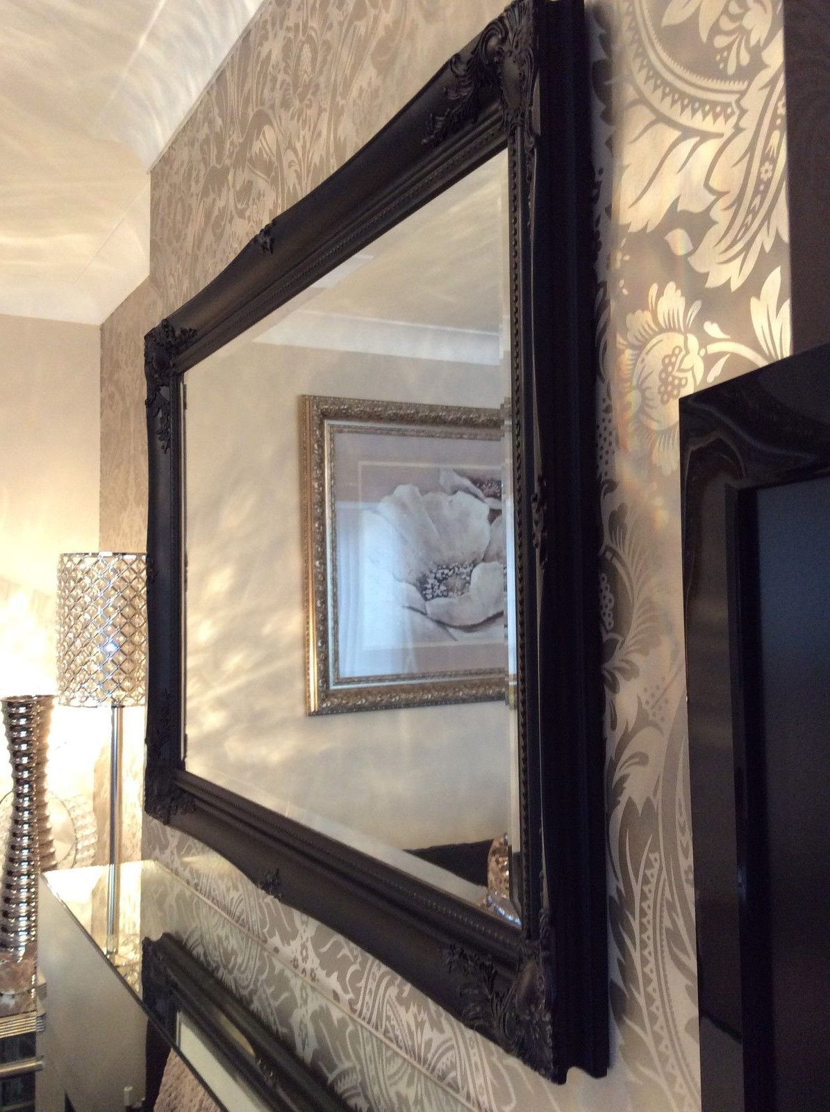 Newest Large Framed Wall Mirrors With Regard To Large Black Stunning Decorative Swept Wall Mirror – Bevelled Glass *new* (Gallery 1 of 20)