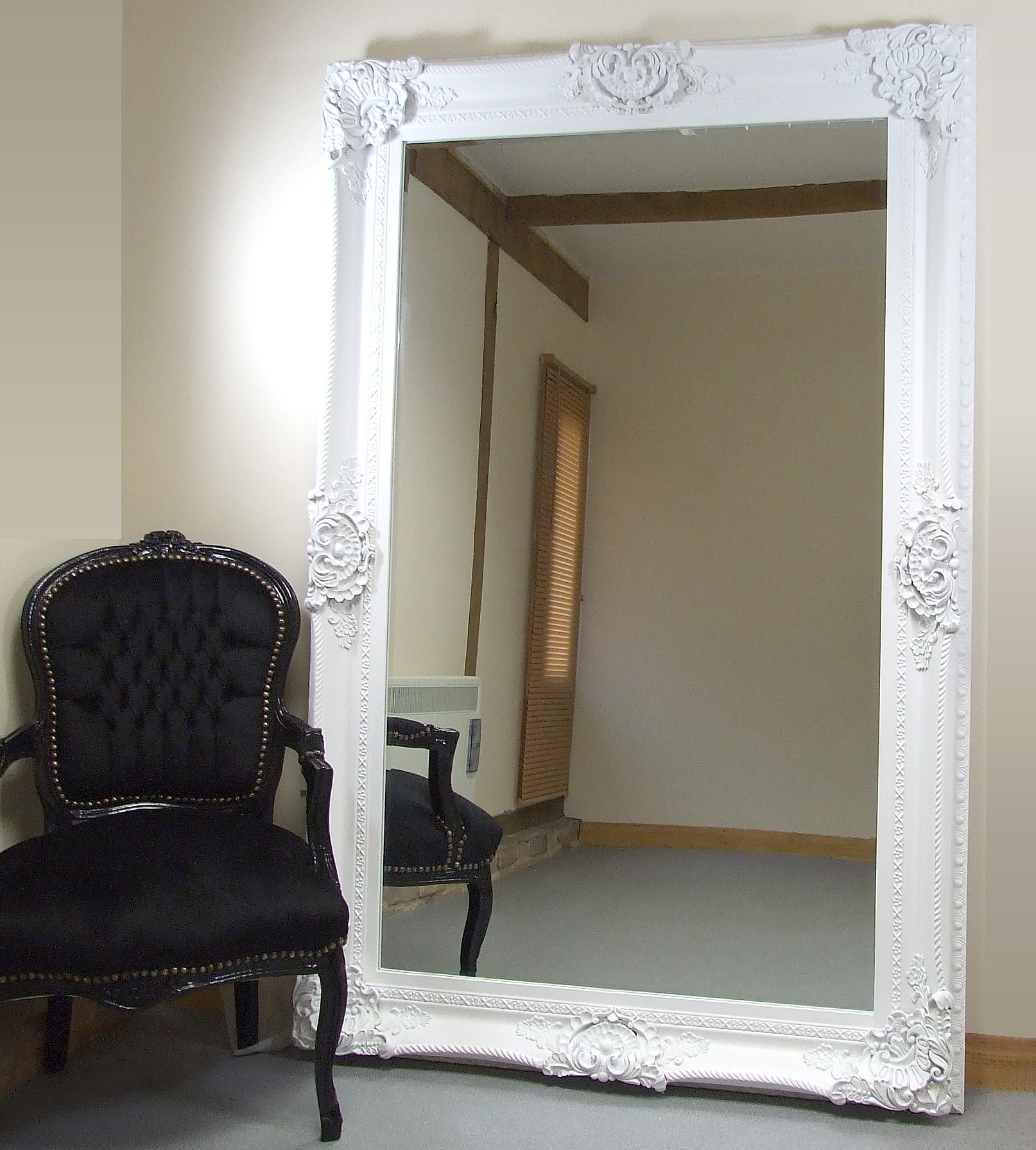 Newest Large Leaning Wall Mirrors With Regard To Seville Ornate Extra Large French Full Length Wall Leaner Mirror (View 14 of 20)