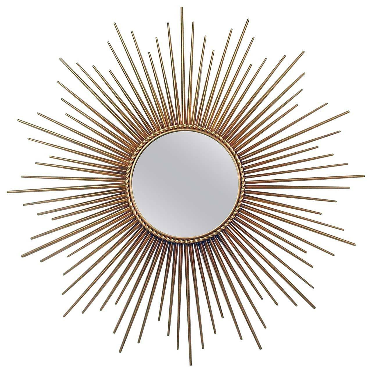 Newest Large Sunburst Wall Mirrors Inside Large French Chaty Vallauris Gilt Sunburst Starburst Wall Mirror 1950s (View 7 of 20)