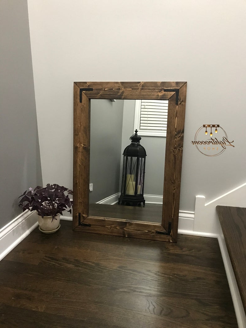 Newest Large Wall Mirrors With Wood Frame Inside Espresso Mirror, Wood Frame Mirror, Rustic Wood Mirror, Bathroom Mirror, Wall Mirror, Vanity Mirror, Small Mirror, Large Mirror, Gift (View 7 of 20)