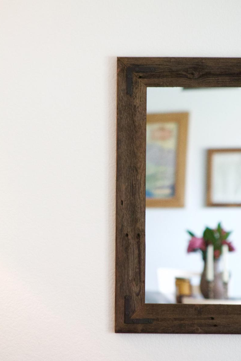 Newest Large Wood Mirror, Rustic Wall Mirror, Large Wall Mirror, Vanity Mirror,  Large Bathroom Mirror, Rustic Mirror, Reclaimed Wood Mirror, Frame Pertaining To Large Rustic Wall Mirrors (Gallery 6 of 20)