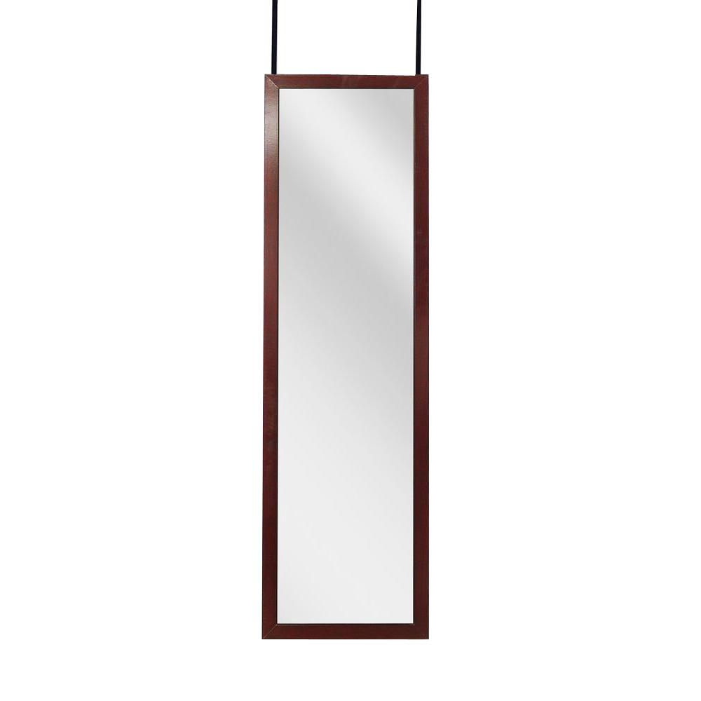 Newest Lightweight Wall Mirrors For 48 In. H X 14 In. W Over The Door Or Wall Mounted Framed Mirror With Cherry (Gallery 9 of 20)