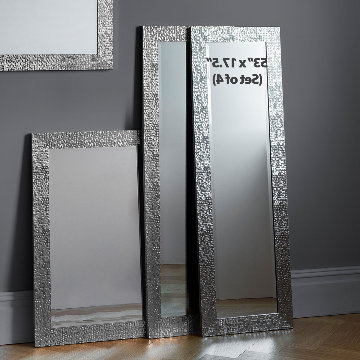 Newest Long Wall Mirrors For Kingsway Set Of 4 Mosaic Frame Silver Full Length Long Wall Mirrors 134X43Cm (View 18 of 20)