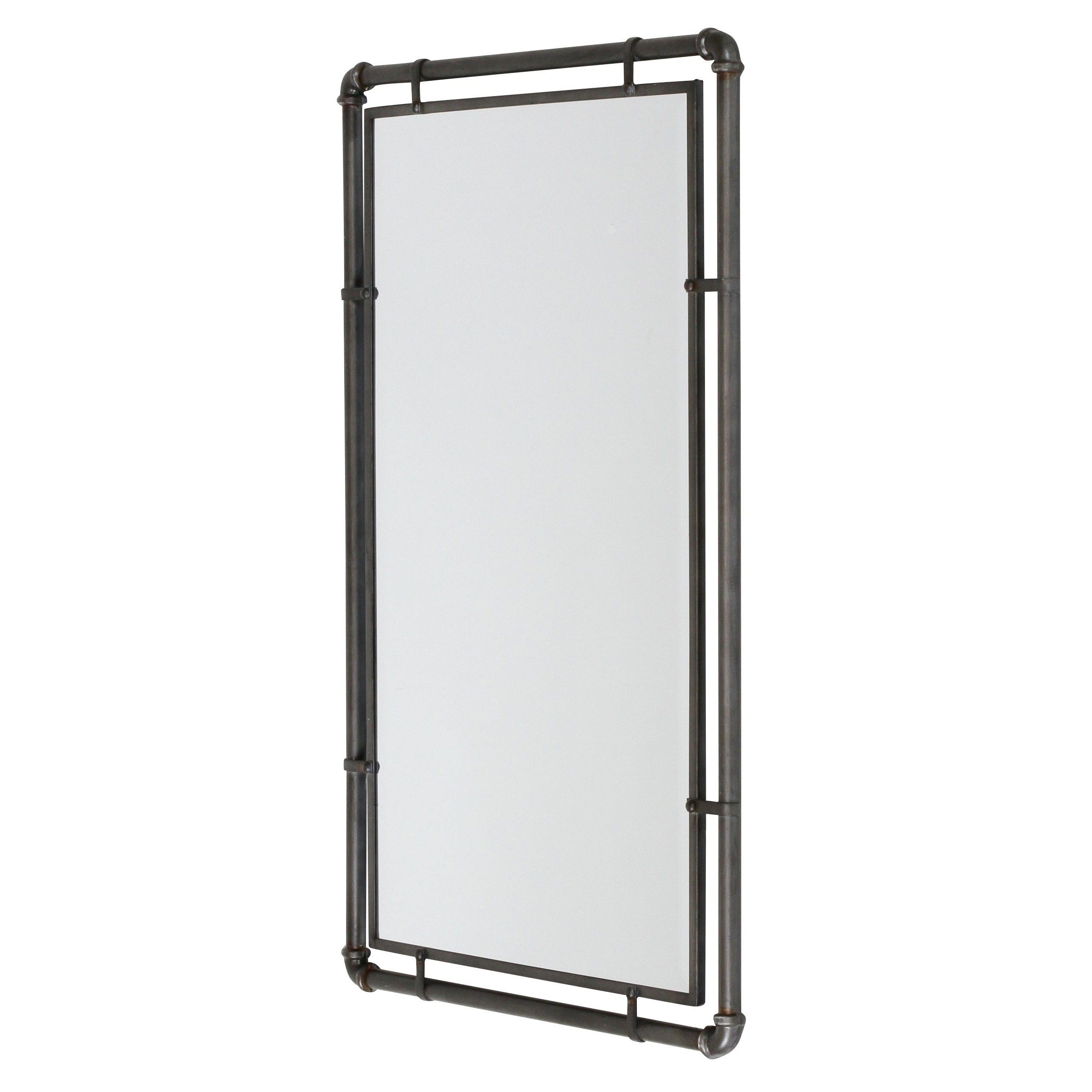 Newest Metal Wall Mirrors In Morse Industrial Metal Wall Mirror – Grey (View 11 of 20)
