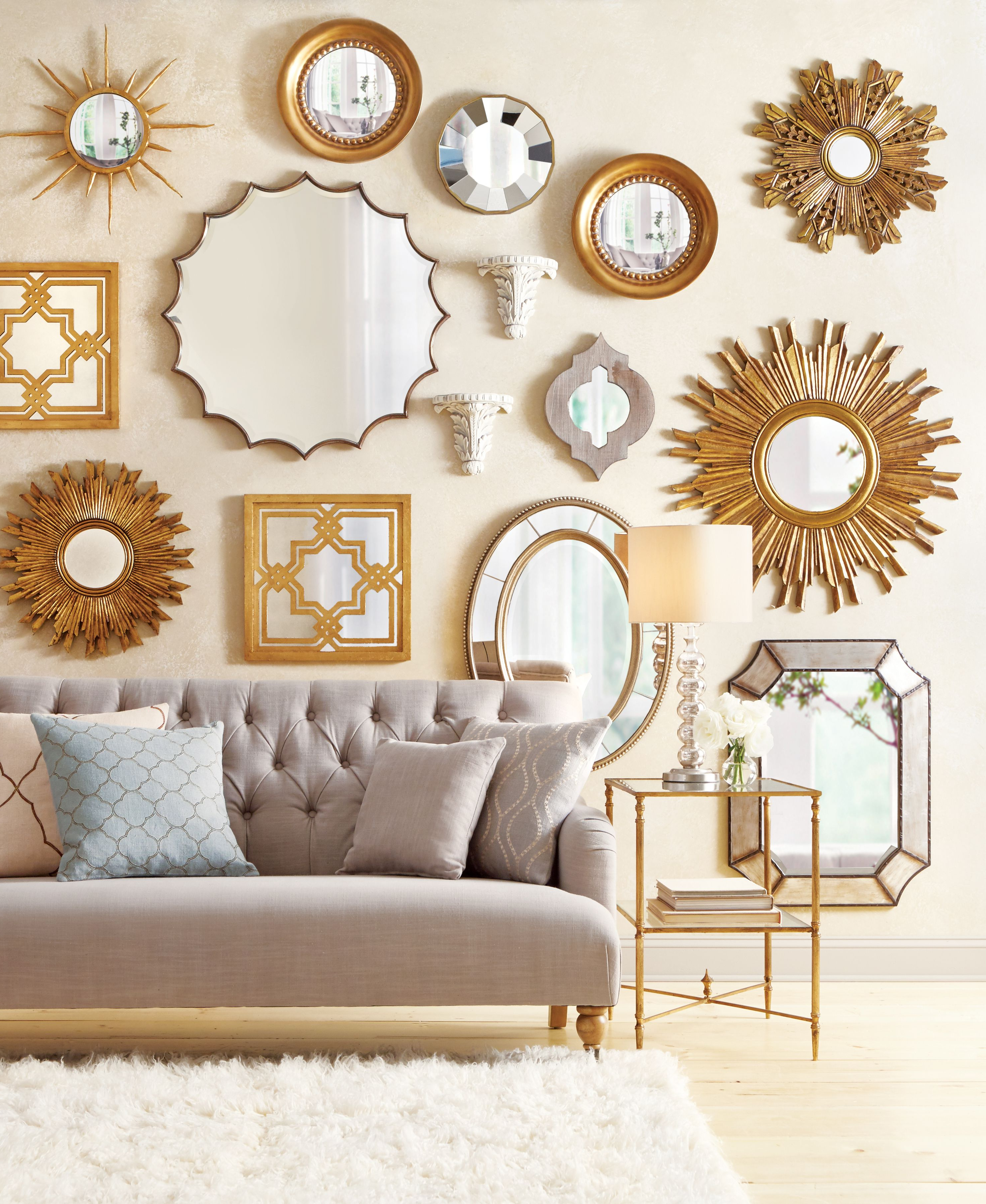 Newest Mirrors Make A Wall Stand Out So Well. Love This Gallery Wall Design Pertaining To Cheap Decorative Wall Mirrors (Gallery 16 of 20)