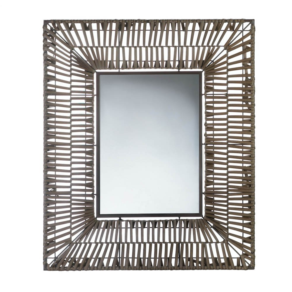 Newest Modern Wall Mirrors Pertaining To Bathroom Wall Mirrors, Modern Wall Mirror Decor Brown Plastic Faux Rattan  (Soldcase, Pack Of 2) (View 16 of 20)