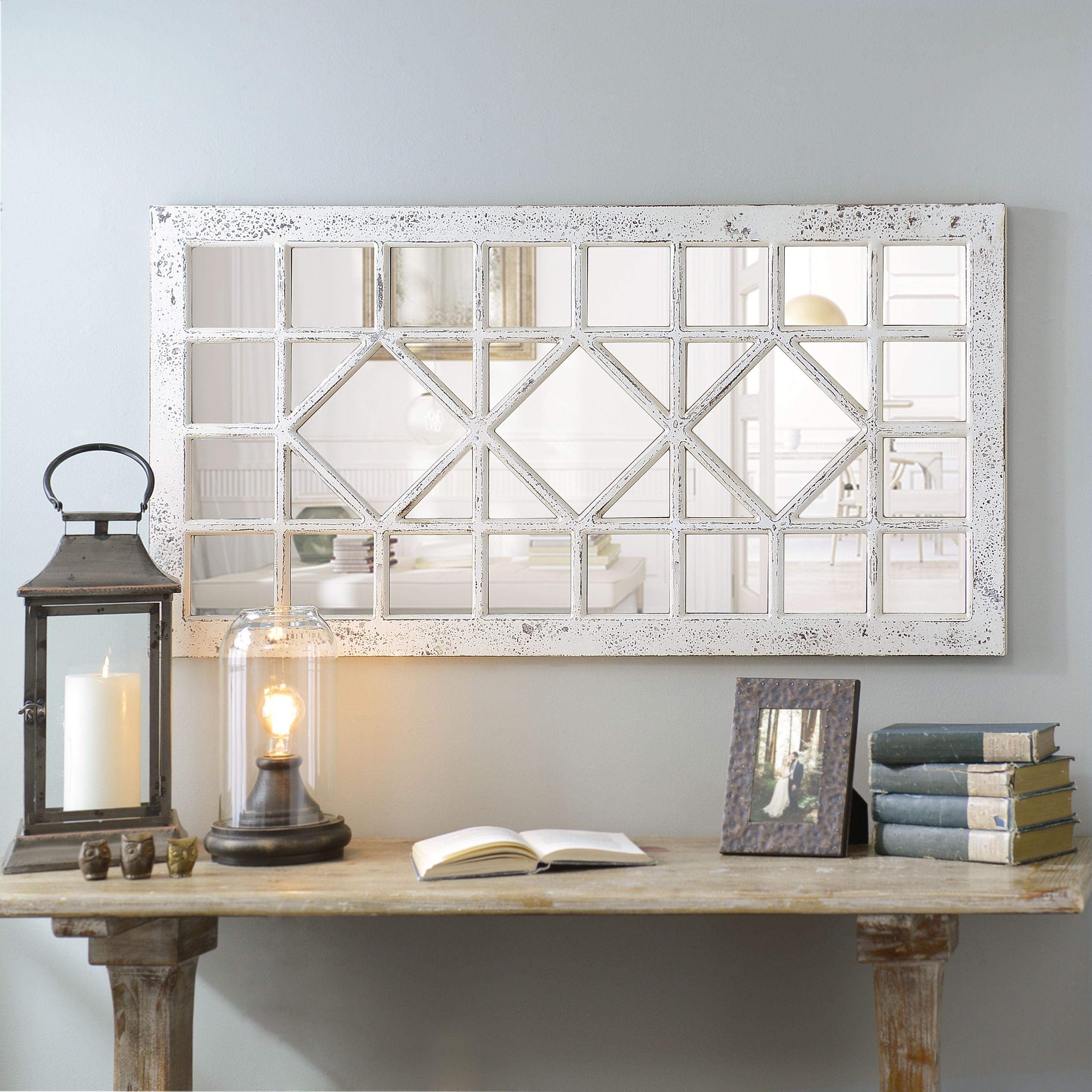 Newest Product Details Distressed Cream Marquis Pane Mirror (View 5 of 20)