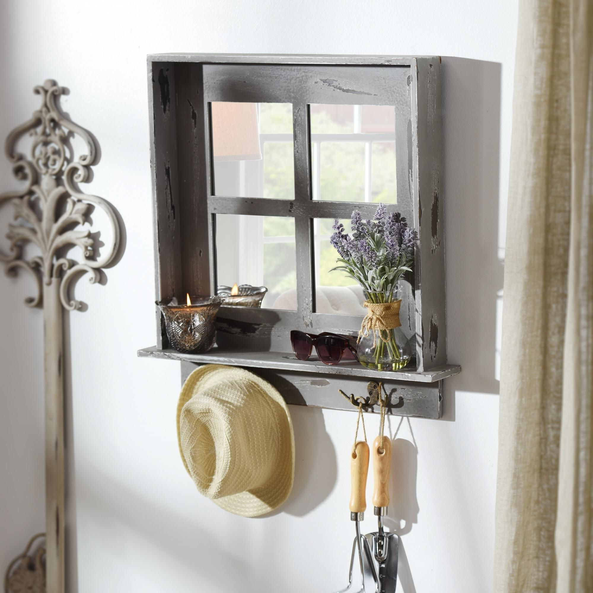 Newest Product Details Gray Window Pane Wall Shelf Mirror With Hooks In Throughout Wall Mirrors With Shelf And Hooks (View 7 of 20)