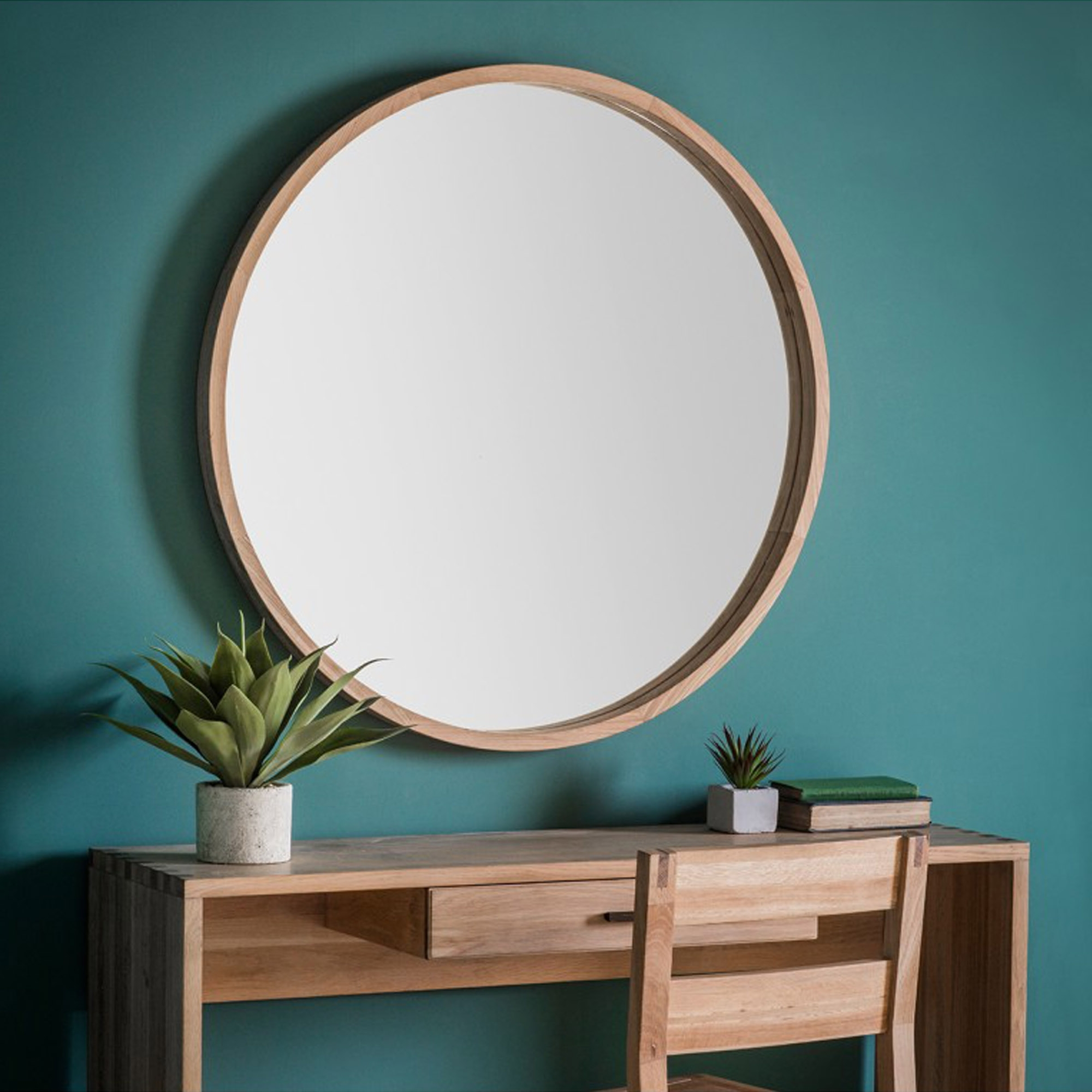 Newest Round Wood Wall Mirrors Within Bowman Large Round Wall Mirror (View 10 of 20)