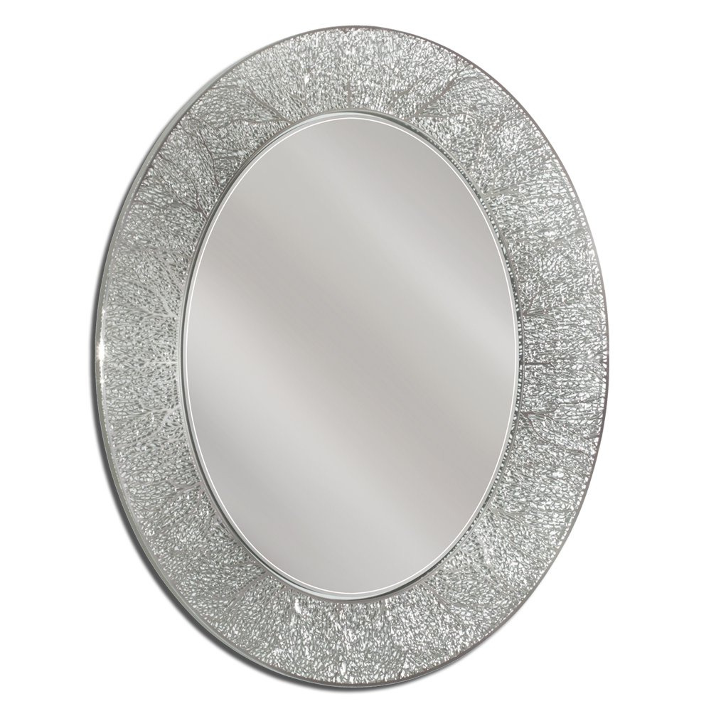 Newest Sajish Oval Crystal Wall Mirrors Inside Danette Coral Bathroom/vanity Mirror (Gallery 19 of 20)