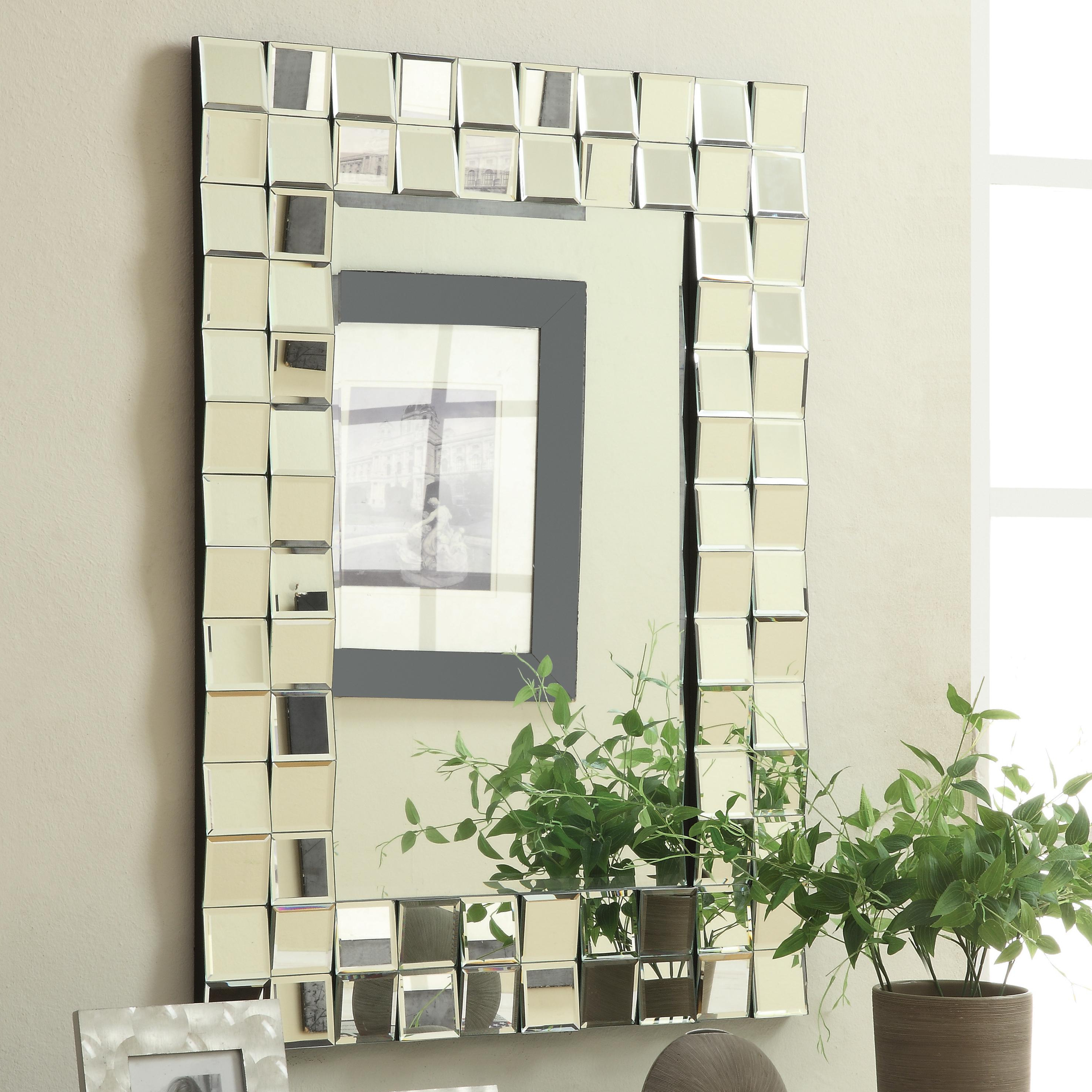 Newest Silver Frame Accent Mirrors For Coaster Accent Mirrors Contemporary Rectangular Wall Mirror In (Gallery 16 of 20)