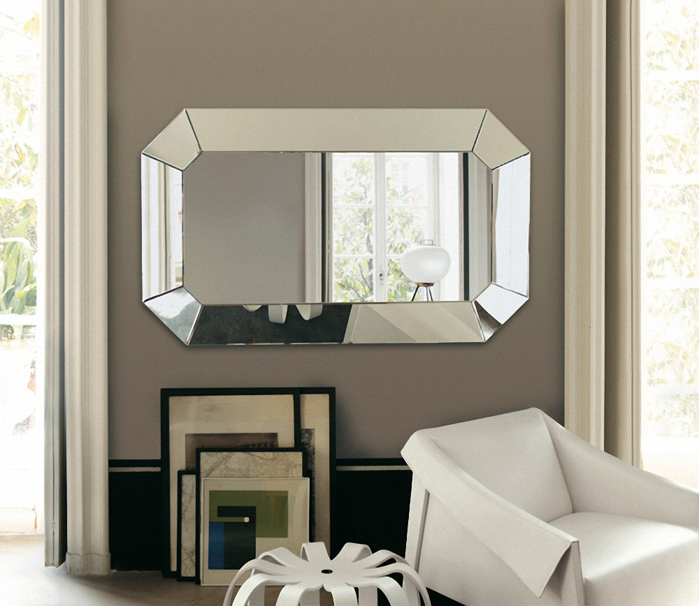 Newest Silver Octagonal Beaded Wall Mirror With Wall Mirrors For Living Rooms (Gallery 10 of 20)