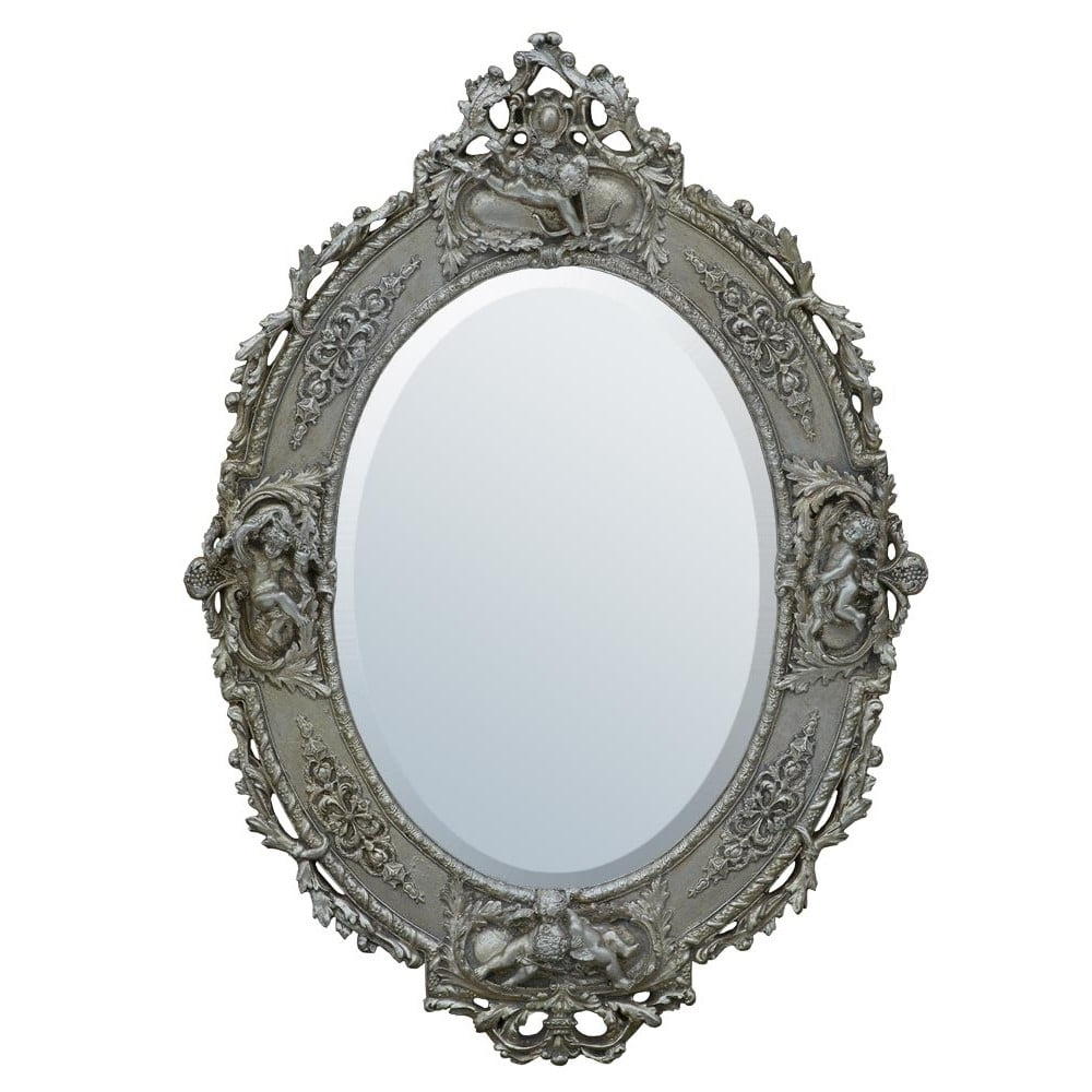 Newest Silver Oval Wall Mirrors Within Antique French Style Champagne Silver Oval Wall Mirror (View 12 of 20)