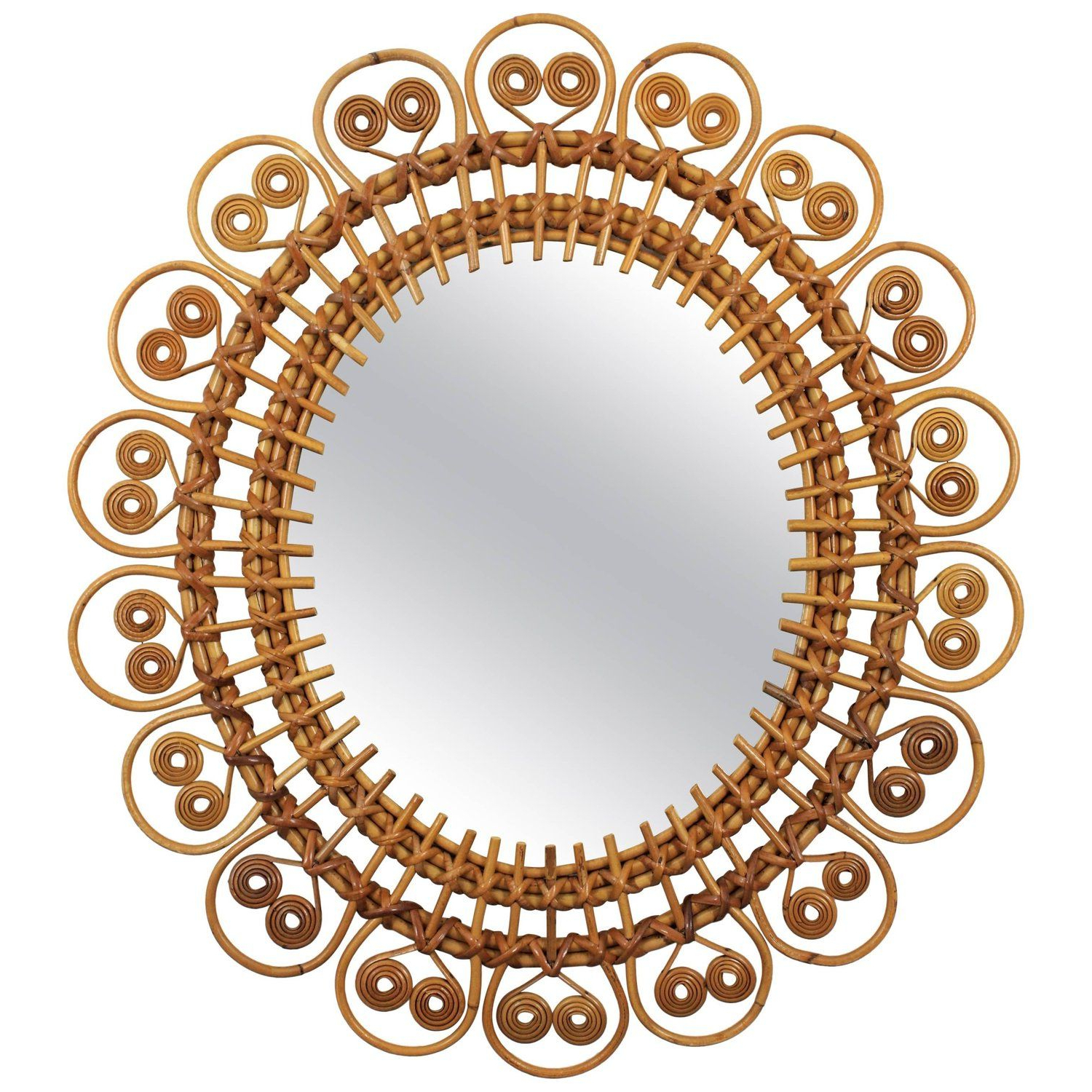 Newest Spit Curl Oval Shaped Rattan Wall Sunburst Mirror, France Regarding Oval Shaped Wall Mirrors (Gallery 8 of 20)