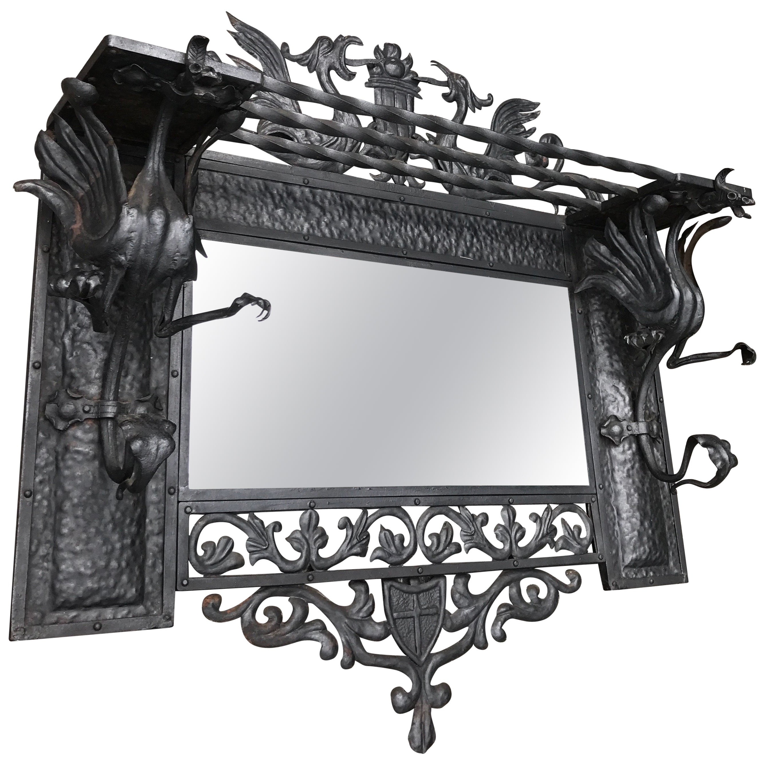 Newest Stunning Arts And Crafts Wrought Iron Art Wall Coat Rack / Mirror With Dragons Throughout Coat Rack Wall Mirrors (View 11 of 20)