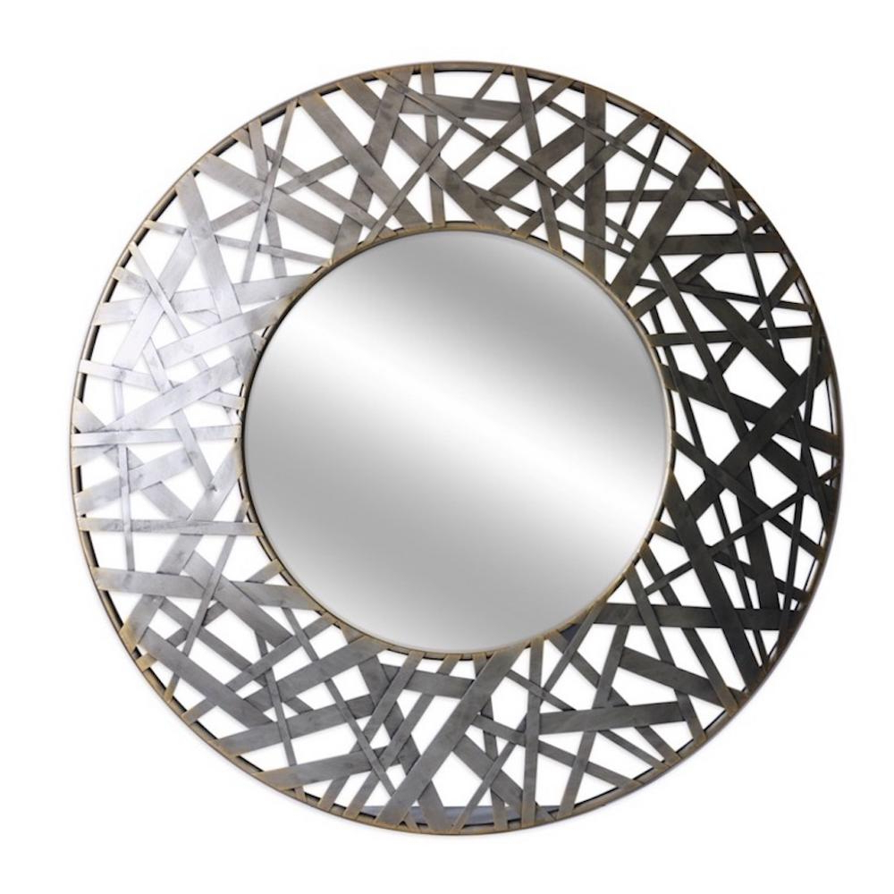 Newest Thatcher 36 In. Round Metal Wall Mirror Regarding Circular Wall Mirrors (Gallery 13 of 20)
