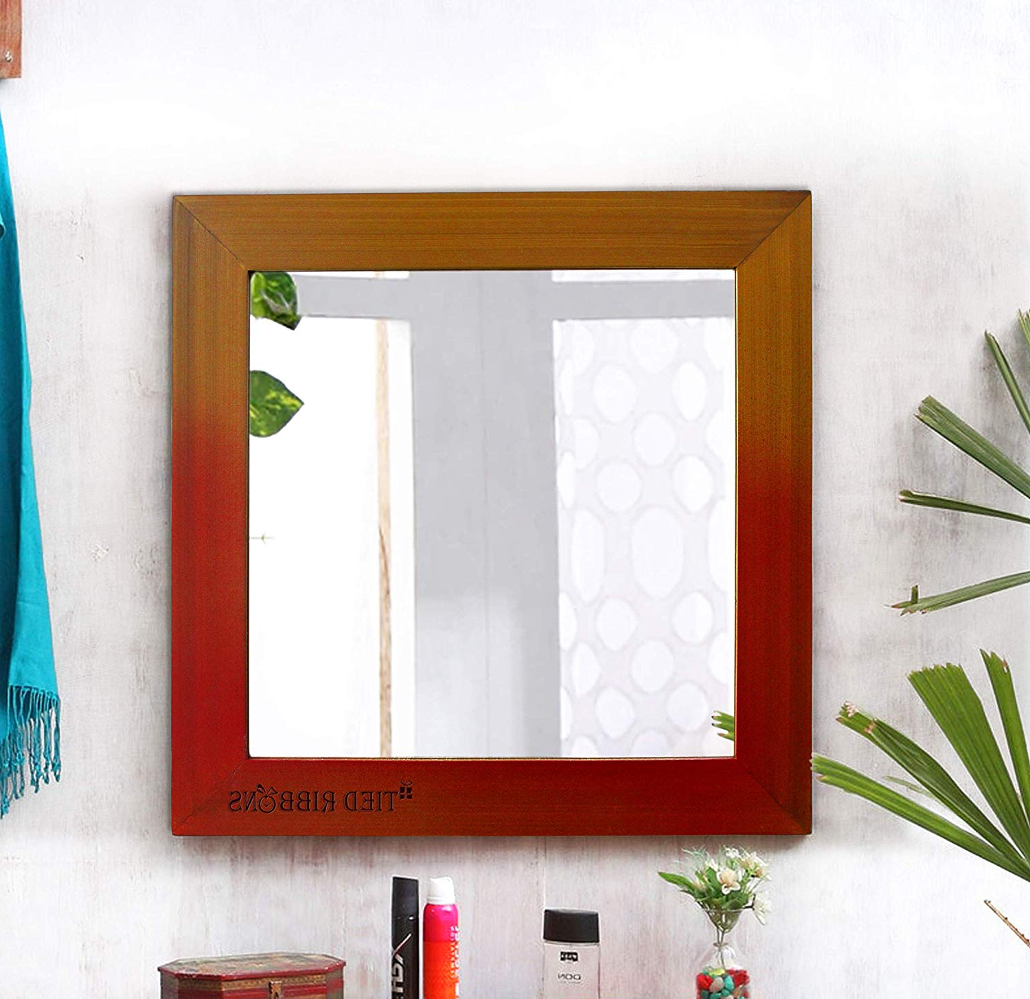 Newest Tied Ribbons Decorative Wall Mirror For Living Room, Decoration Bedroom  Bathroom (37.5 Cm X 37.5 Cm, Wood Framed) Throughout Decorative Wall Mirrors For Living Room (Gallery 13 of 20)