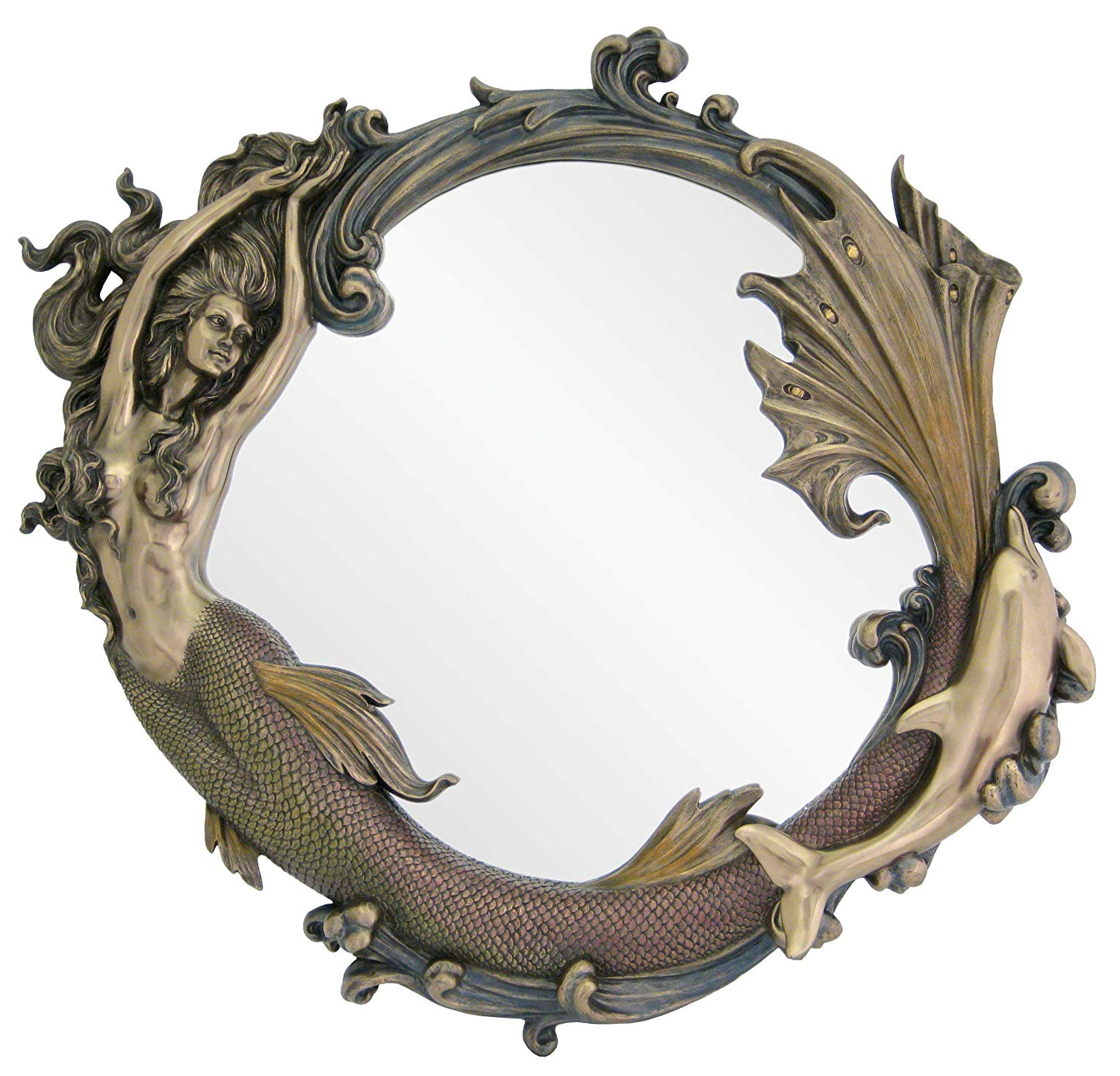 "Newest Top Collection 24"" Large Mirror Of Mermaid Playing W/ Dolphin In Cold Cast  Bronze – Perfect Home Decor For Mermaid Wall Mirrors (View 12 of 20)"