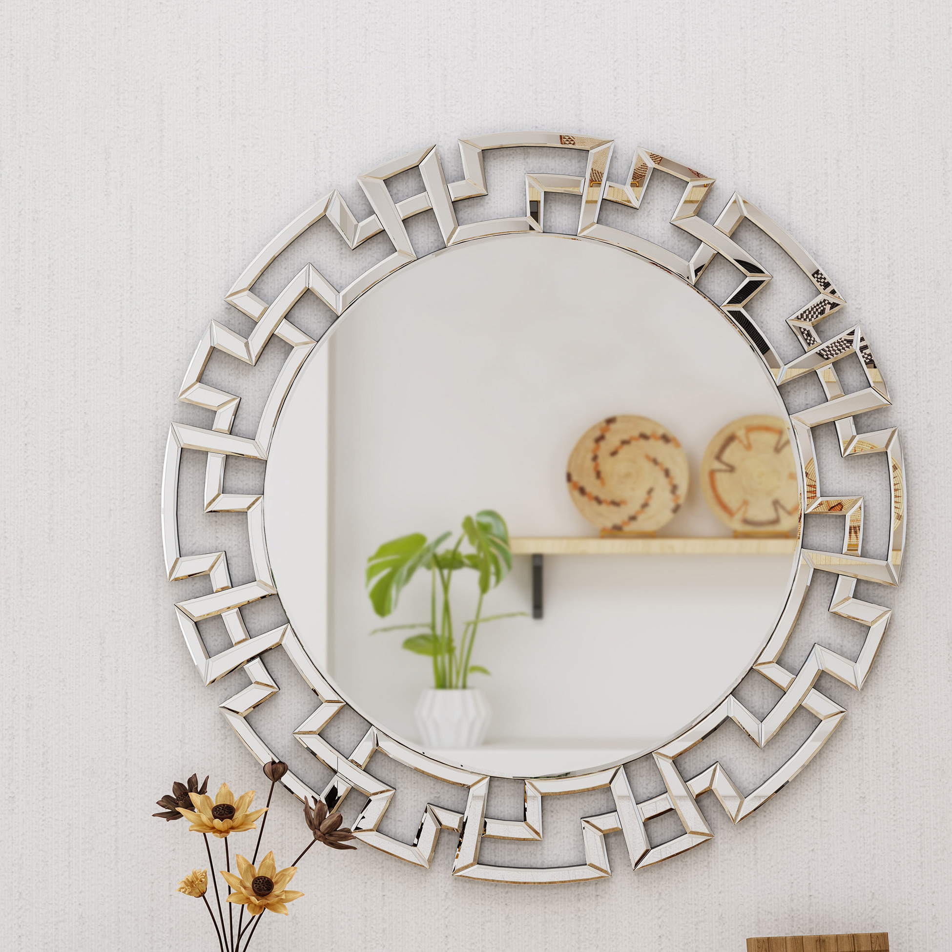 Newest Torino Accent Mirror With Tata Openwork Round Wall Mirrors (View 13 of 20)