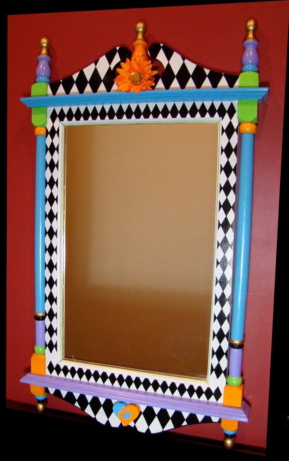 Newest Whimsical Wall Mirrors Pertaining To Large Wall Mirror  Whimsical  Hand Painted Wood (Gallery 17 of 20)