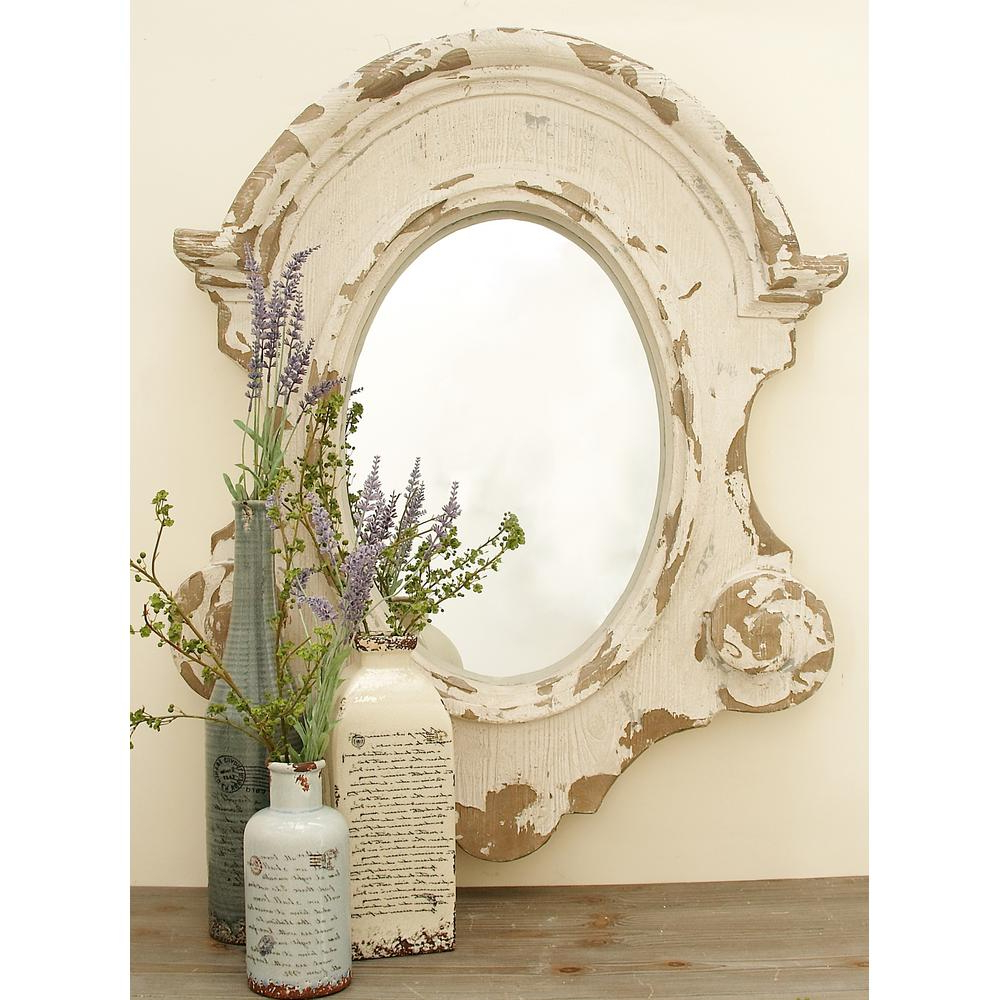 Newest White Shabby Chic Wall Mirrors Pertaining To 43 In. X 35 In. Scalloped Shabby Chic Framed Wall Mirror (Gallery 5 of 20)