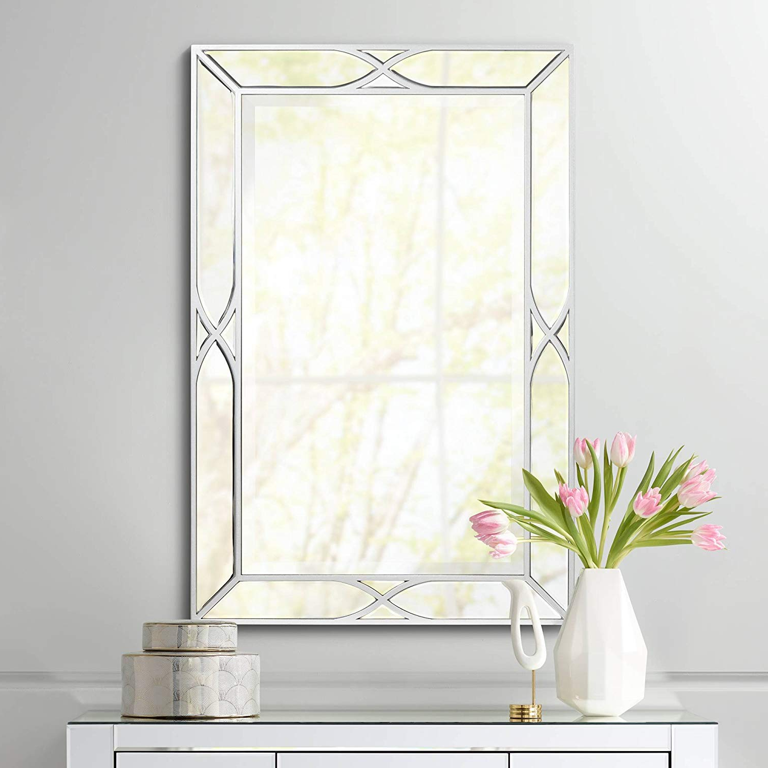 "Noble Park Tryon Silver 25"" X 38"" Beveled Wall Mirror In Latest Beveled Wall Mirrors (View 19 of 20)"
