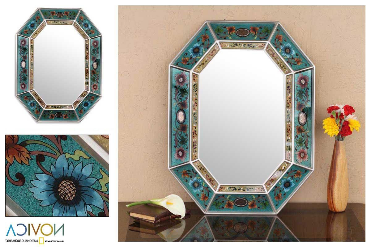 Novica Infinite Aqua Artisan Handmade Reverse Painted Glass Blue Red With Widely Used Aqua Wall Mirrors (View 17 of 20)