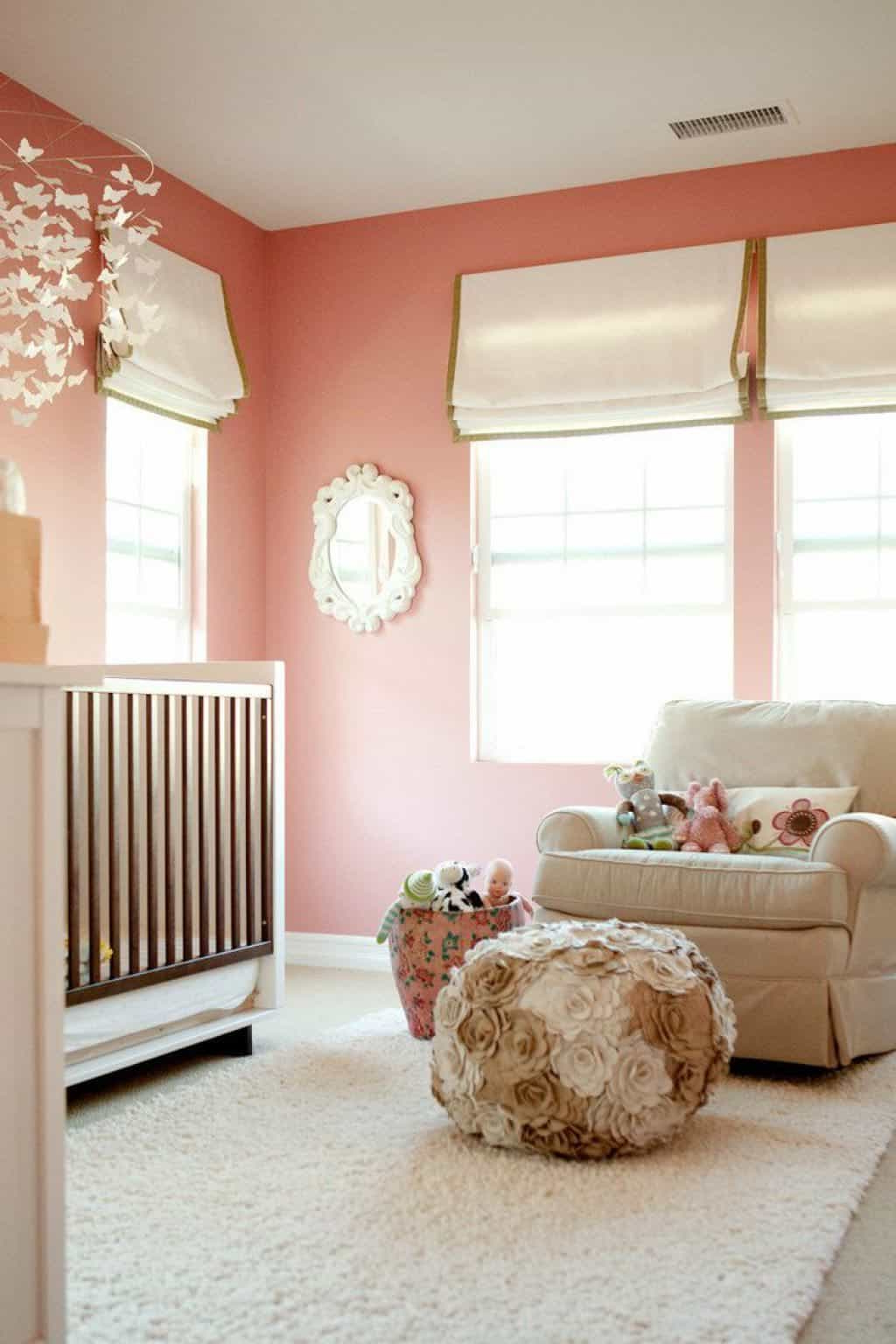 Nursery Wall Mirrors Pertaining To Widely Used Nursery Room With Peach Wall Color And Wall Mirror (View 15 of 20)