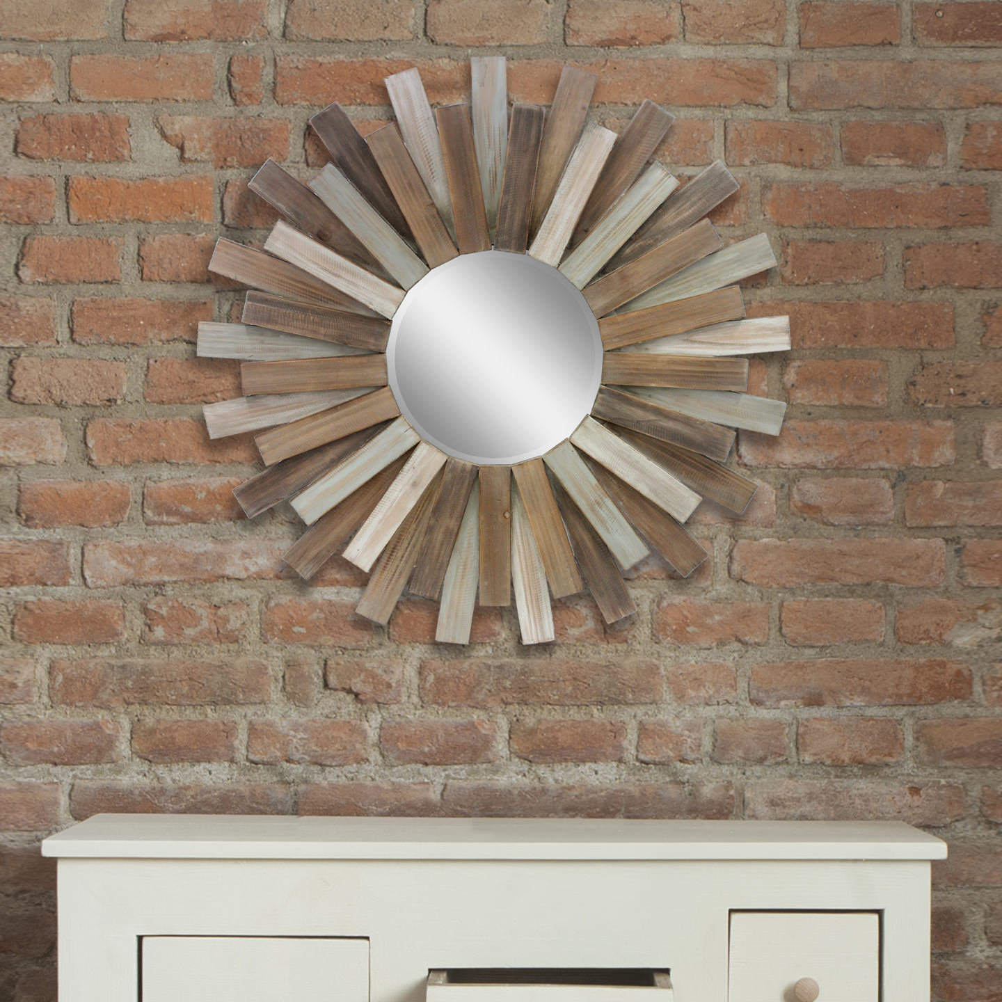 Nuttall Wooden Sunburst Rustic Wall Mirror Within Famous Jarrod Sunburst Accent Mirrors (View 16 of 20)