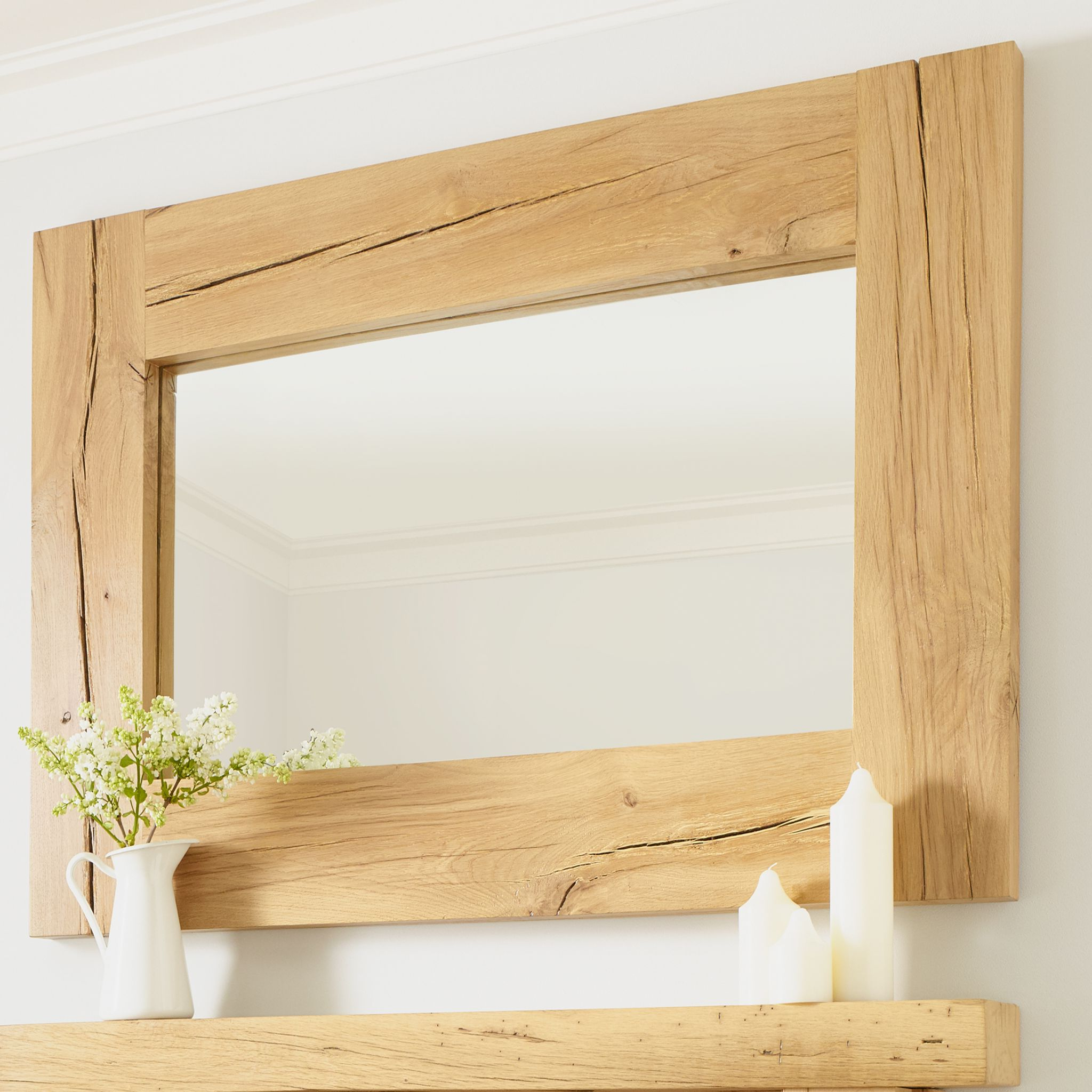 Oak Wall Mirrors Pertaining To Widely Used Solid Oak Oxford Wall Mirror Rustic Character (View 10 of 20)