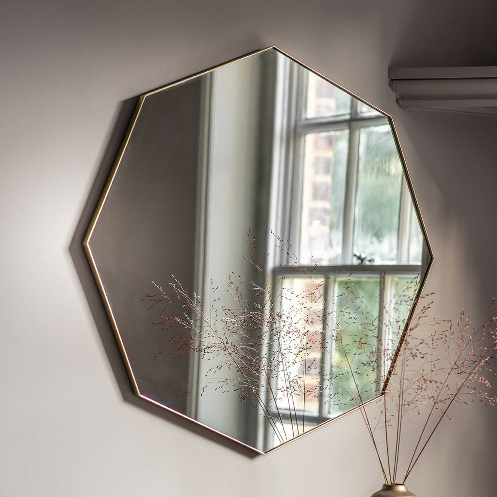 Octagon Wall Mirrors Intended For Popular Octagon Shallow Framed Wall Mirror (View 3 of 20)