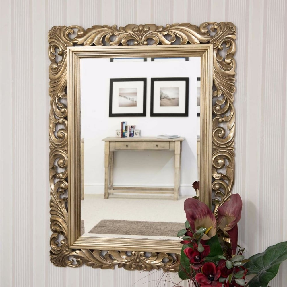 Octavia Silver Carved Detail Large Wall Mirror In Favorite Large Gold Wall Mirrors (View 5 of 20)
