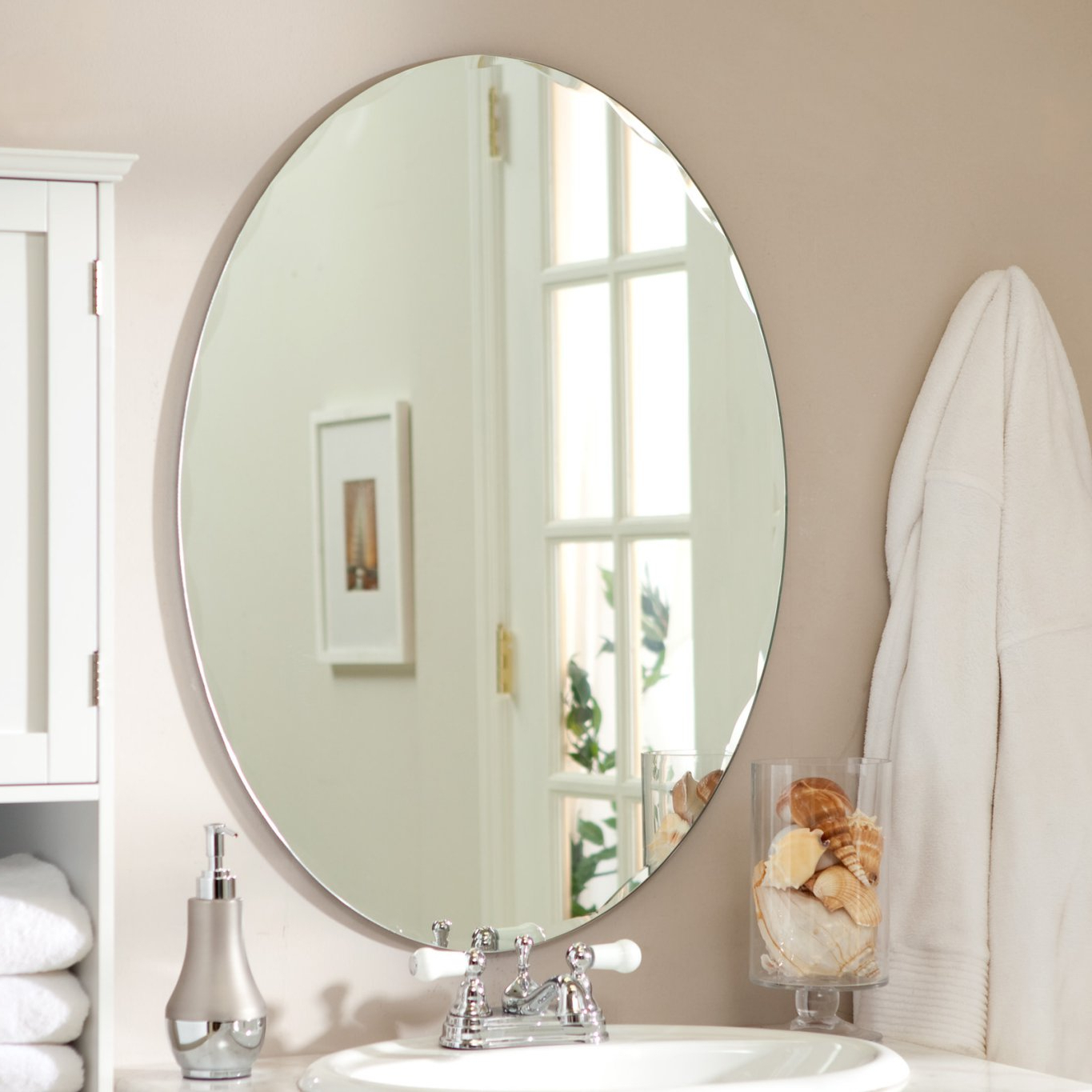 Odelia Oval Bevel Frameless Wall Mirror – Walmart Regarding Widely Used Frameless Bathroom Wall Mirrors (View 17 of 20)