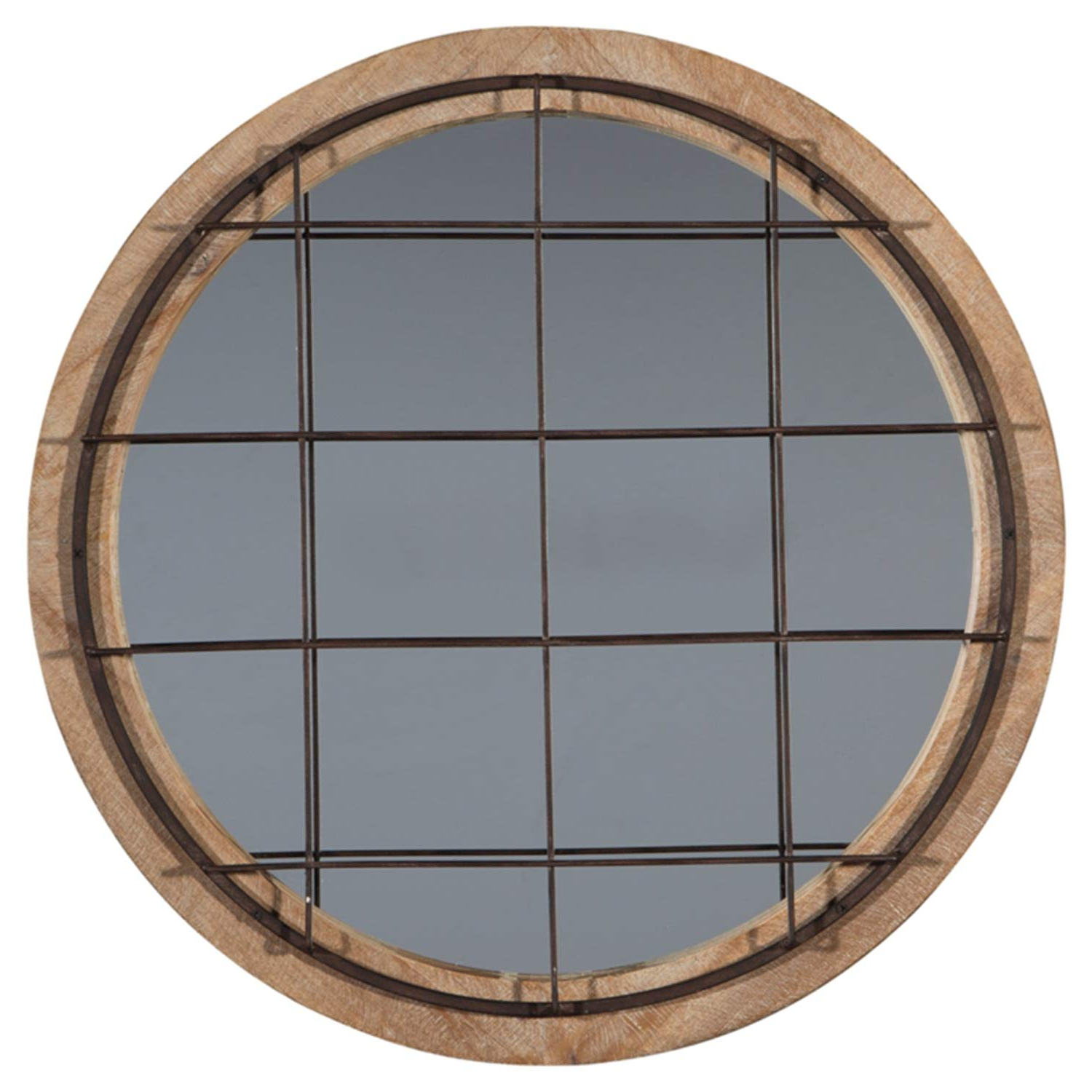 Ogier Accent Mirrors With Regard To Popular Ashley Furniture Signature Design – Eland Accent Mirror – Industrial – Black Finished Metal W/ Natural Wood Finish (View 12 of 20)