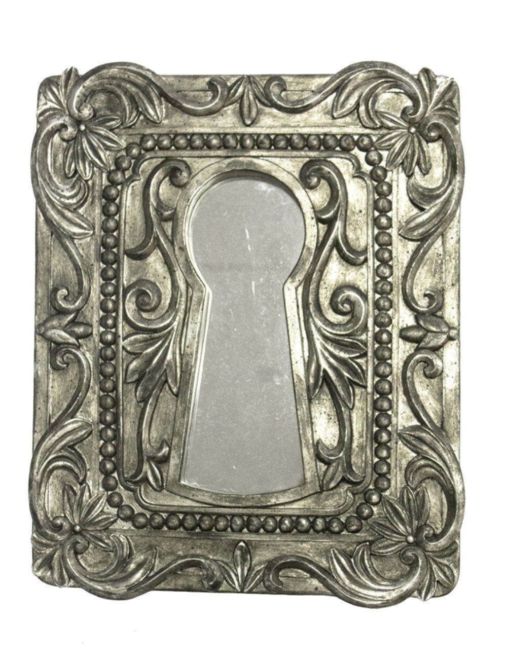 Old Fashioned Wall Mirrors In Fashionable Amazon: Aged Antique Finish Silver Keyhole Wall Mirror Accent (View 15 of 20)